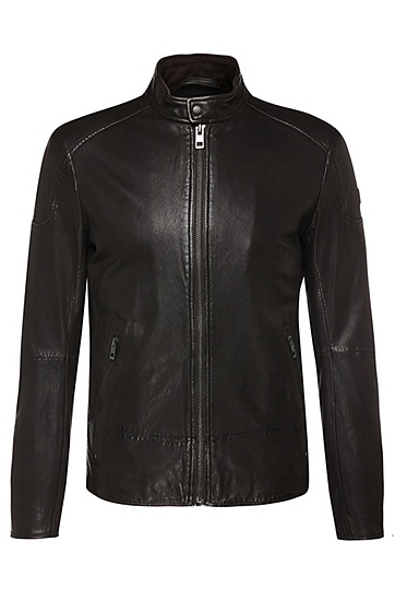 Slim-fit biker-style leather jacket with a band collar: 'Jofynn', Dark Brown