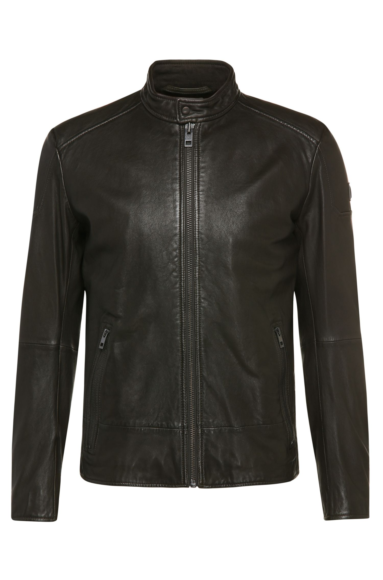 Slim-fit biker-style leather jacket with a band collar: 'Jofynn'