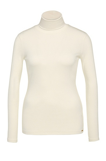Slim-fit polo neck sweater in stretchy viscose blend with wool: 'Turtlas', Natural