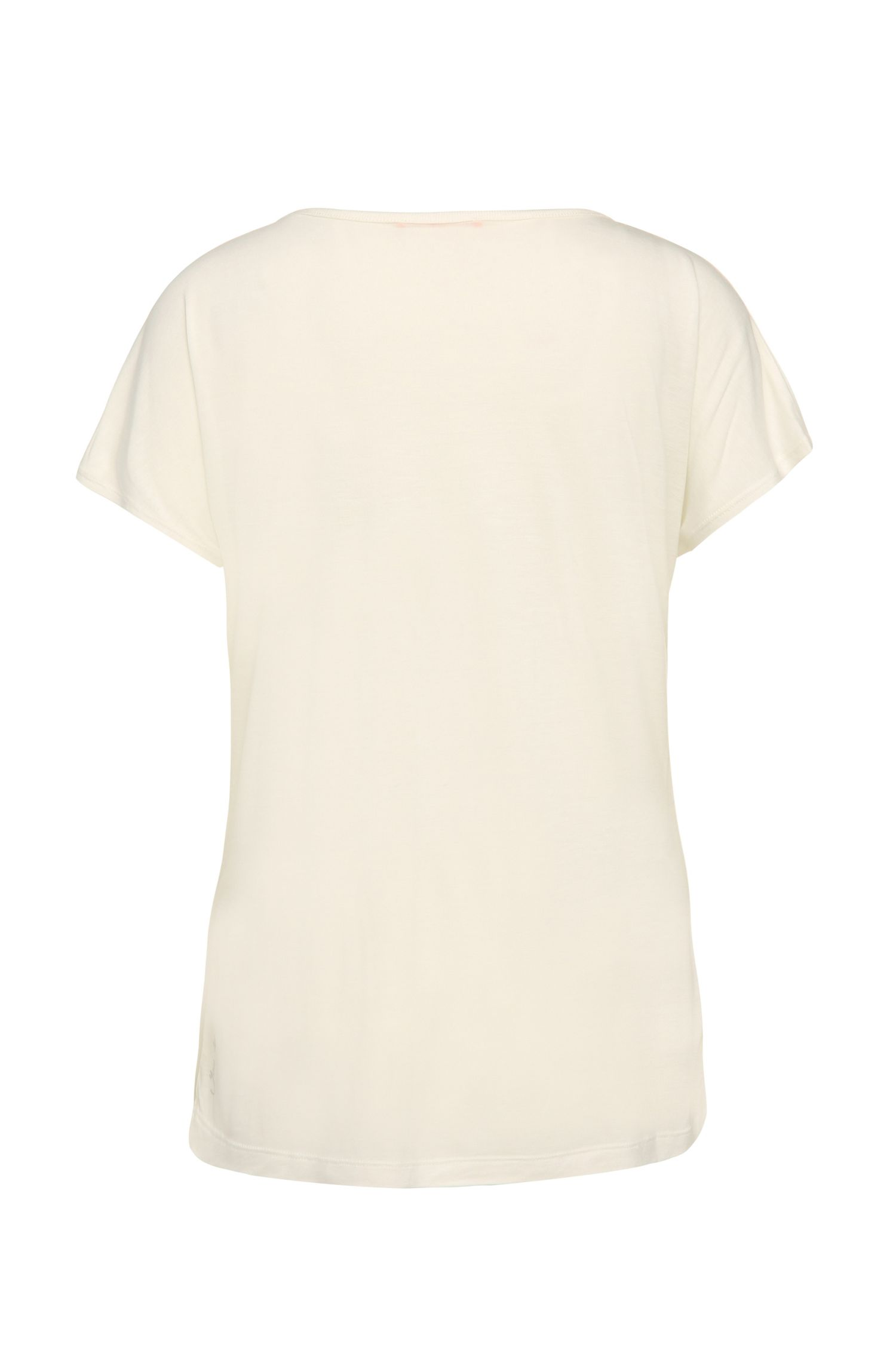Regular-fit T-shirt van een viscosemix met wol: 'Taximi'