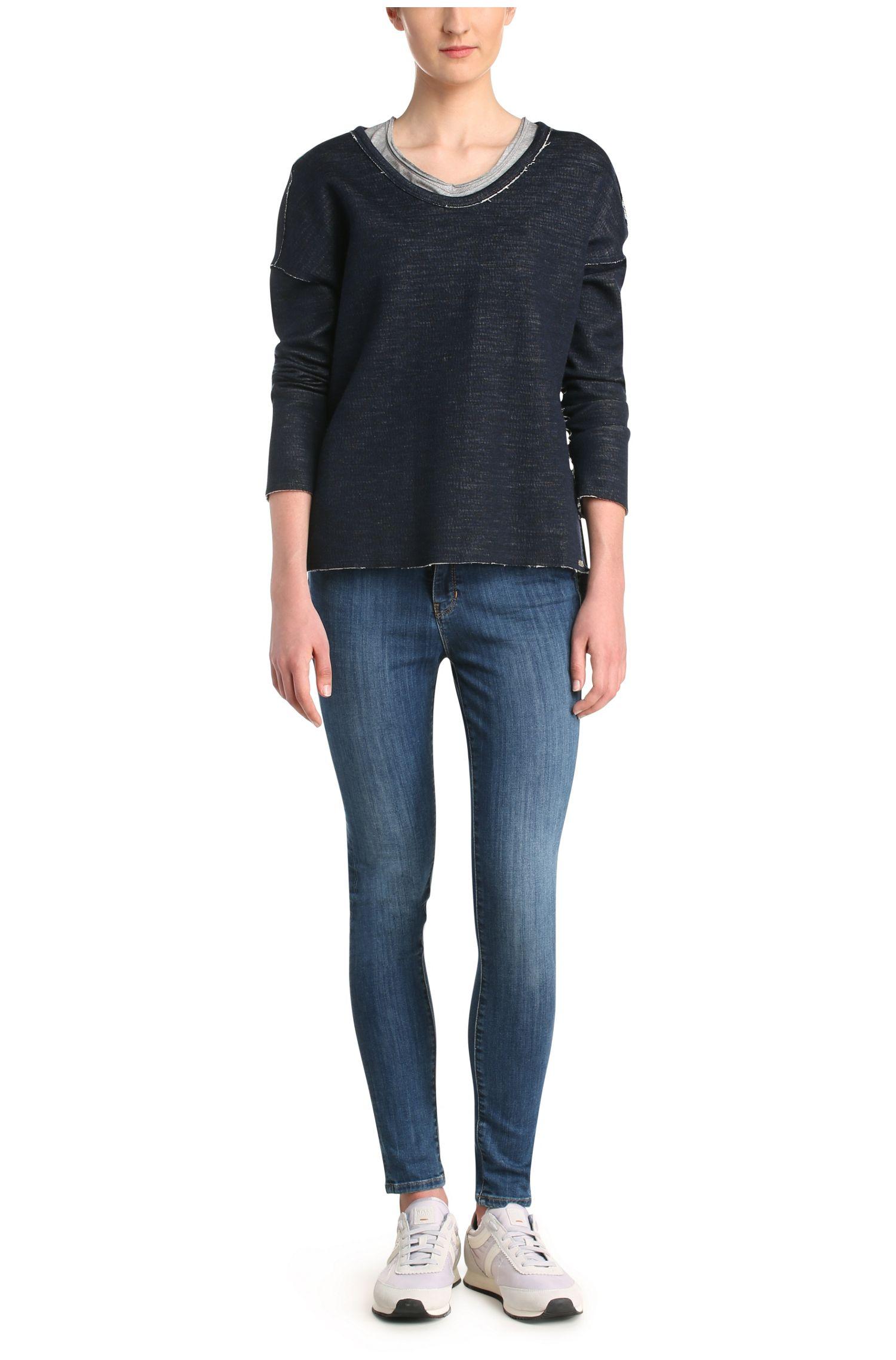 Sweatshirt van een gemêleerde katoenmix met contrasterende binnenzijde: 'Tareverse'