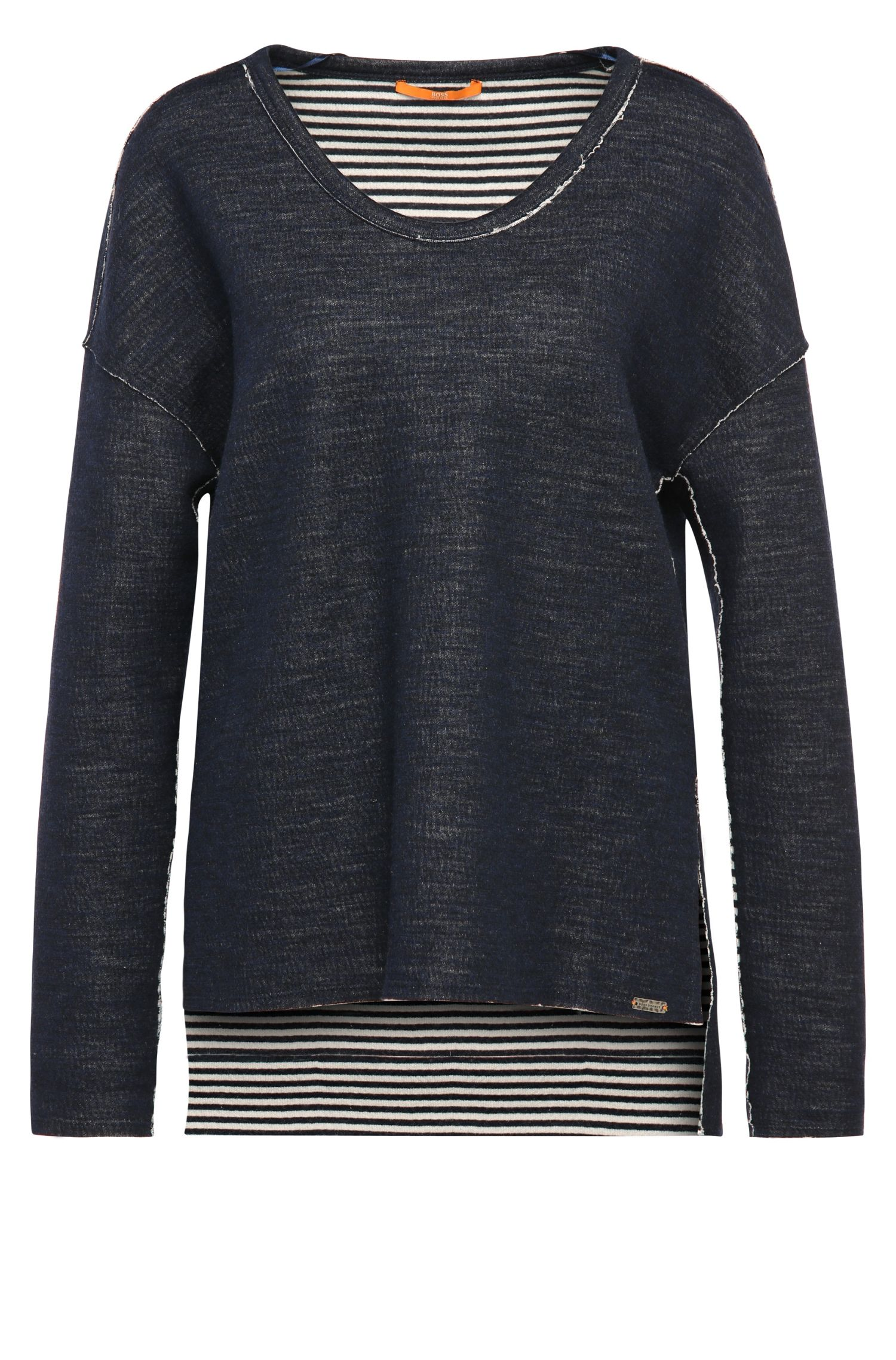 Sweatshirt in mottled cotton blend with contrasting inner layer: 'Tareverse'