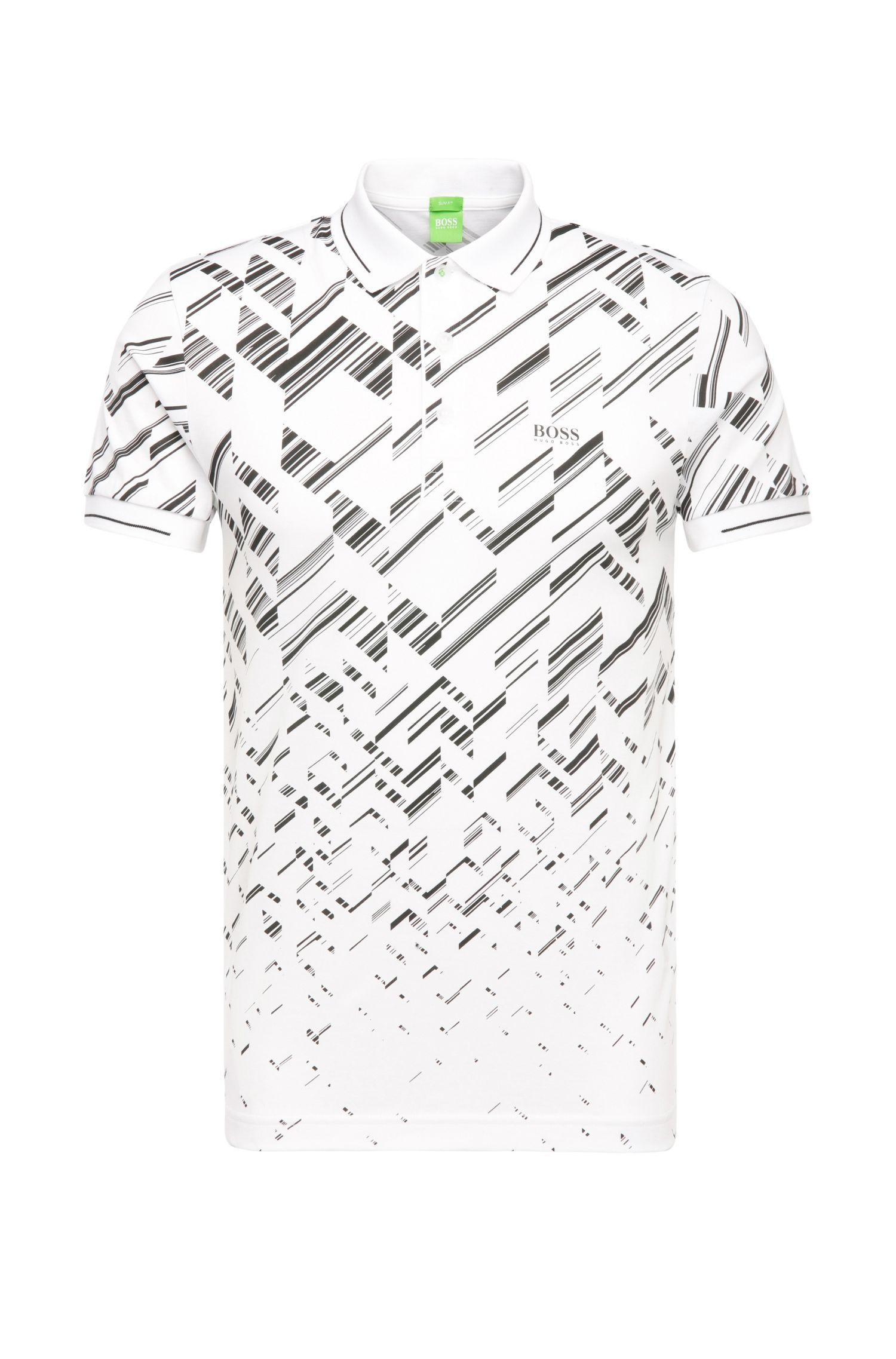 Patterned slim-fit polo shirt in cotton blend: 'Peerocell'