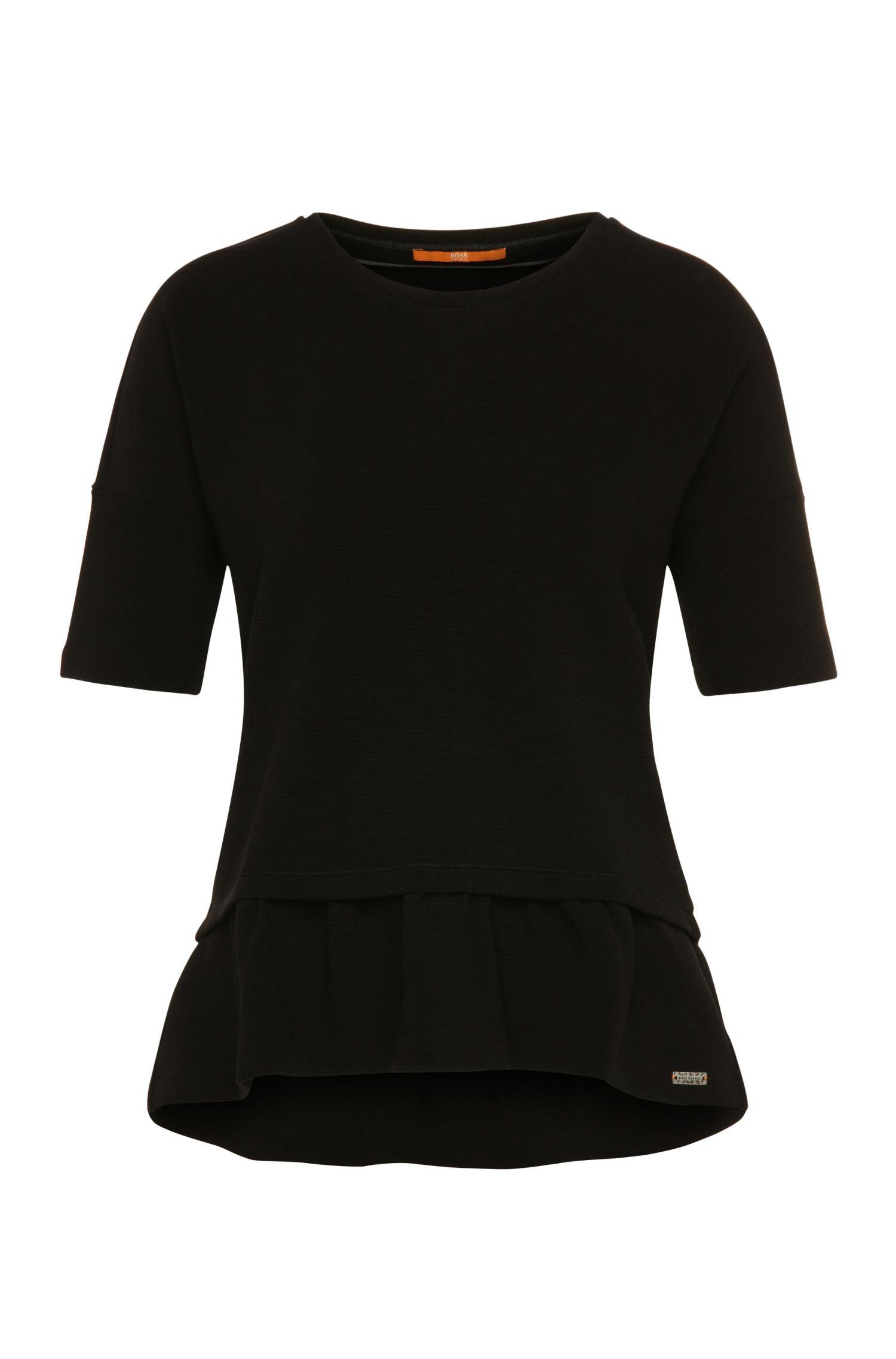 T-shirt à péplums Comfort Fit en coton extensible mélangé: «Tapep»