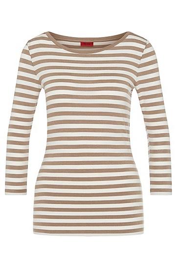 Gestreiftes Shirt aus Stretch-Viskose: 'Dannela_2', Hellbeige