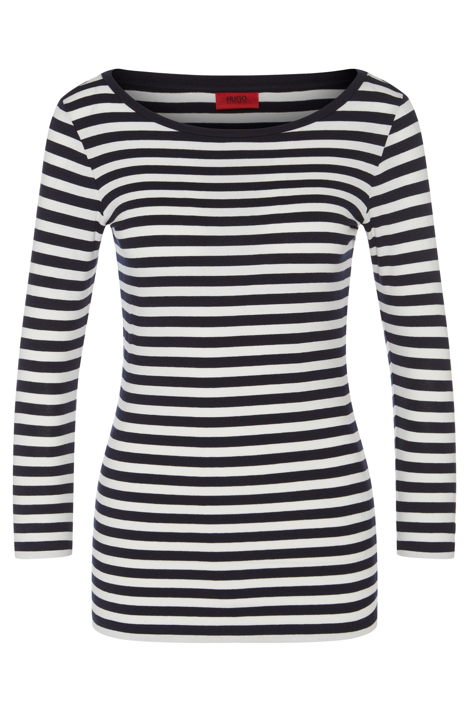 Slim-fit jersey t-shirt with stripes and a bateau neckline from HUGO Woman