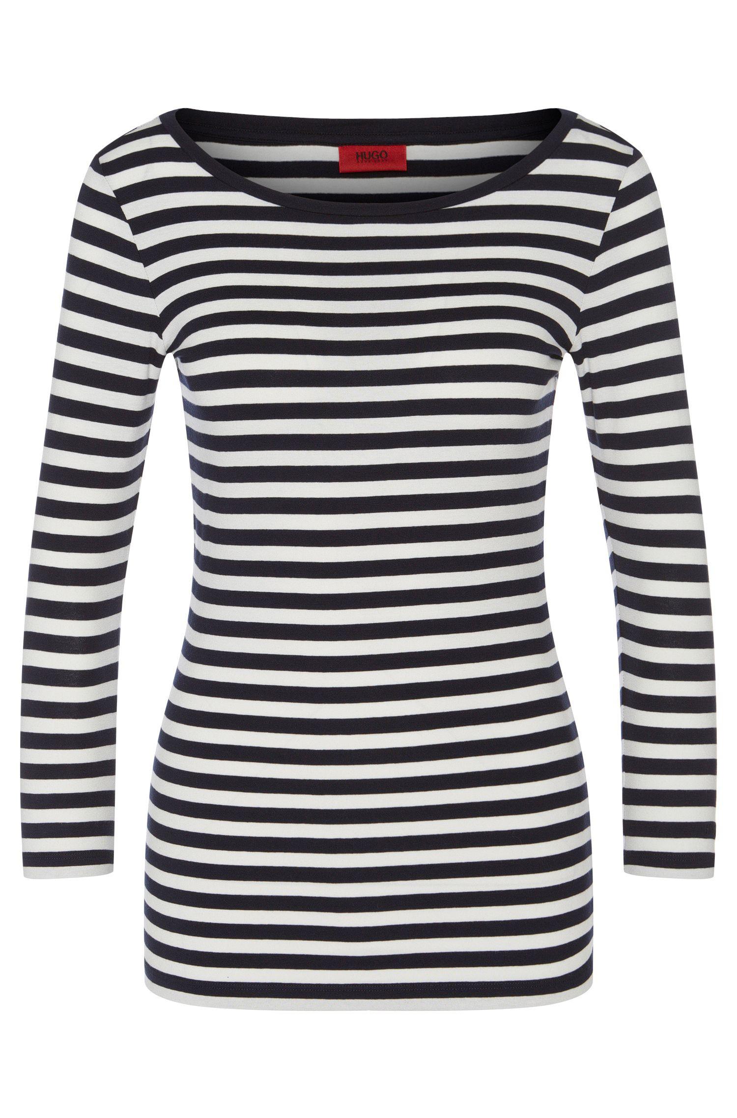 Slim-Fit T-Shirt aus Jersey mit Streifen und U-Boot-Ausschnitt von HUGO Woman