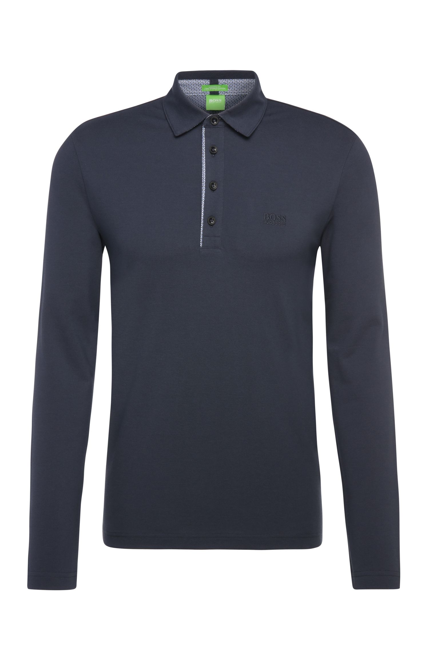 Regular-fit long-sleeved polo shirt in cotton: 'C-Tivoli'