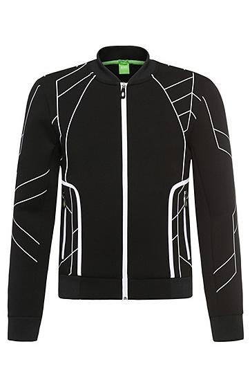 Gemusterte Slim-Fit Jacke aus elastischem Baumwoll-Mix: ´Sharrell`, Schwarz