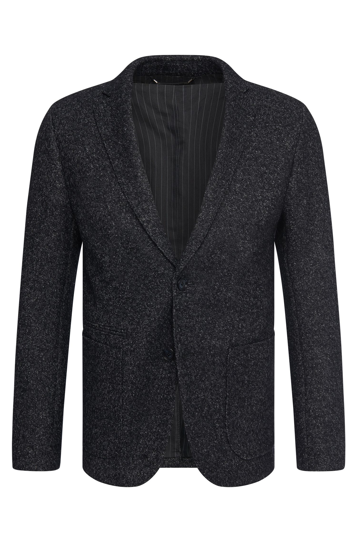 Veste de costume Slim Fit Tailored chiné en laine vierge mélangée : « T-Narvik-W »