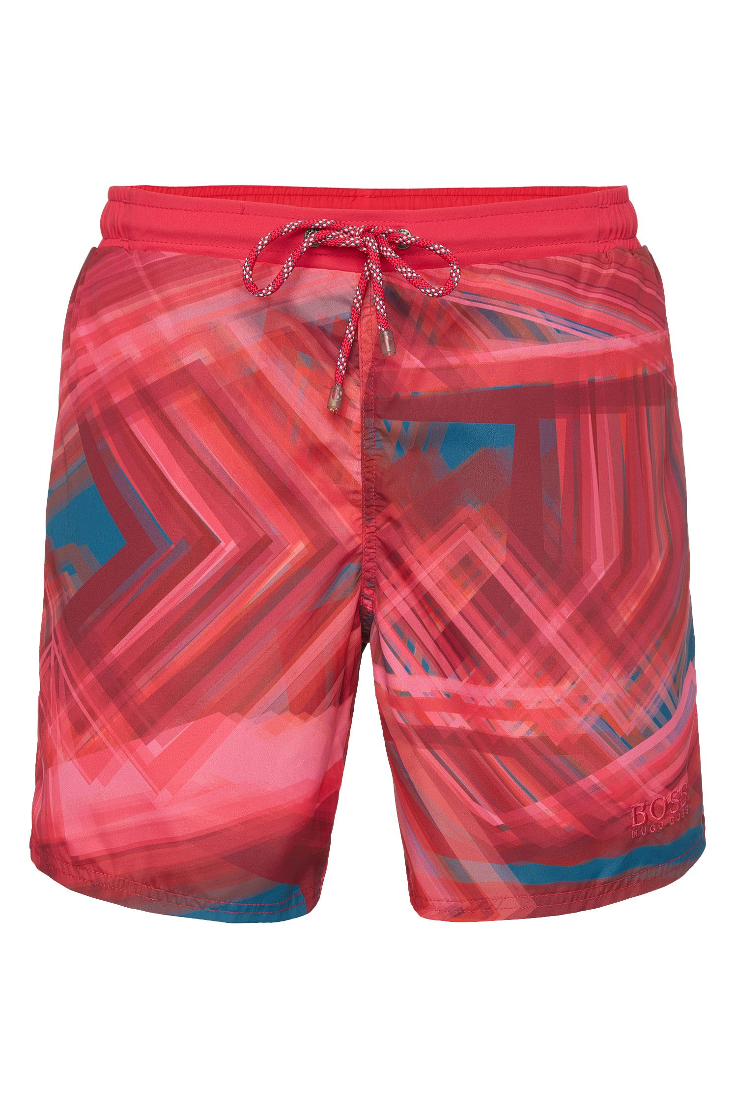 Quick-drying swim shorts with graphic all-over pattern: 'Rockfish'