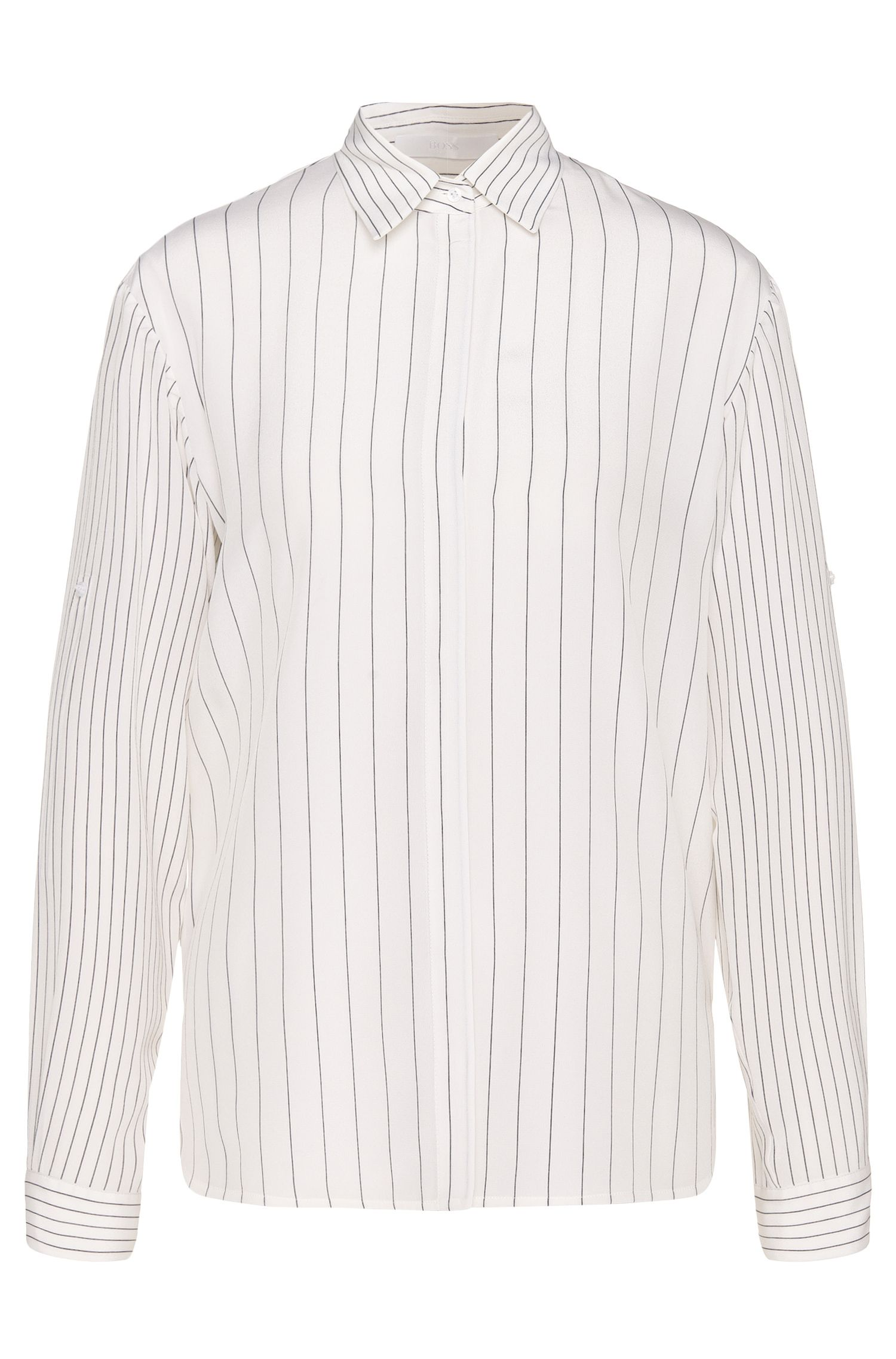Striped relaxed-fit blouse in silk: 'Rellie'