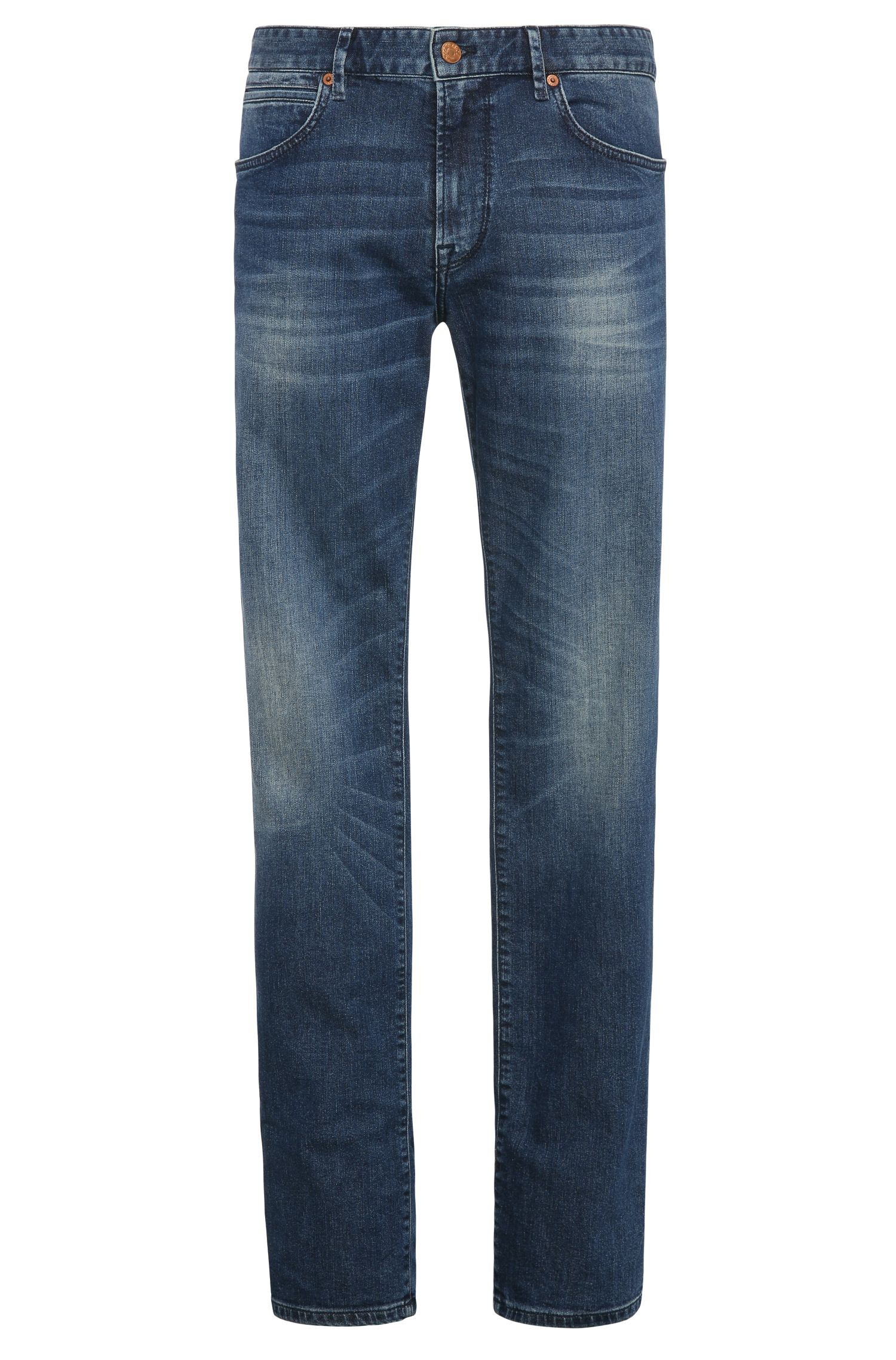 Regular-fit jeans van een elastische katoenmix in used-look: 'Orange24 Barcelona'