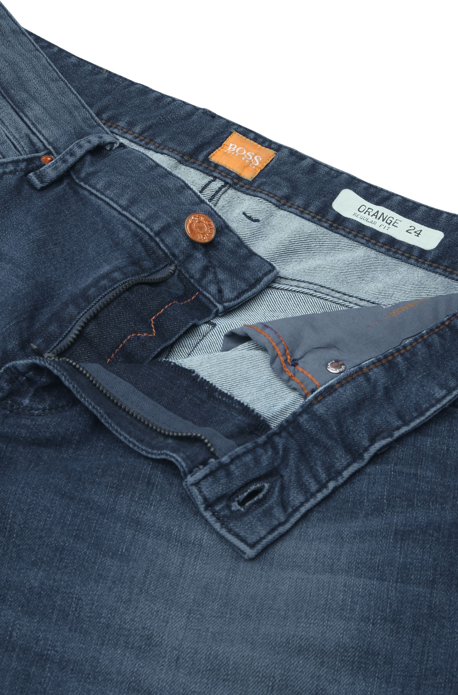 Regular-Fit Jeans aus elastischem Baumwoll-Mix in Used-Optik: ´Orange24 Barcelona`