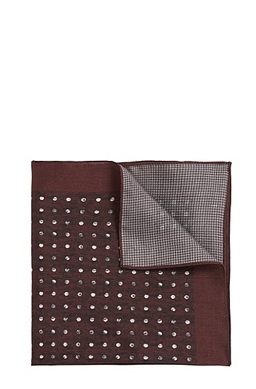 Gemustertes Einstecktuch aus Seide: 'Pocket sq. cm 33x33', Dunkelrot