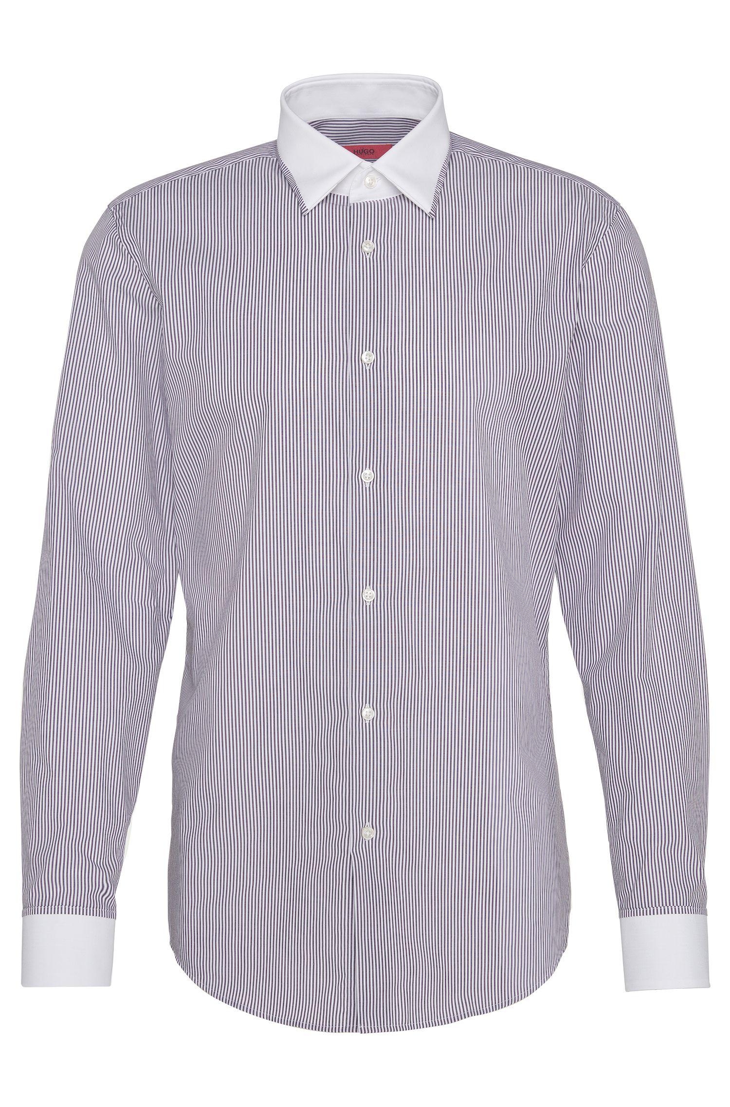 Gestreept slim-fit overhemd van katoen met effen details: 'C-Jannie1'
