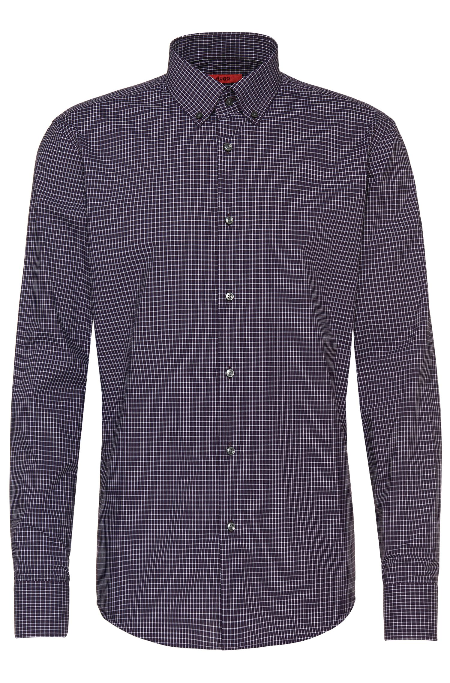Checked regular-fit shirt in easy-iron cotton: 'C-Gerd'