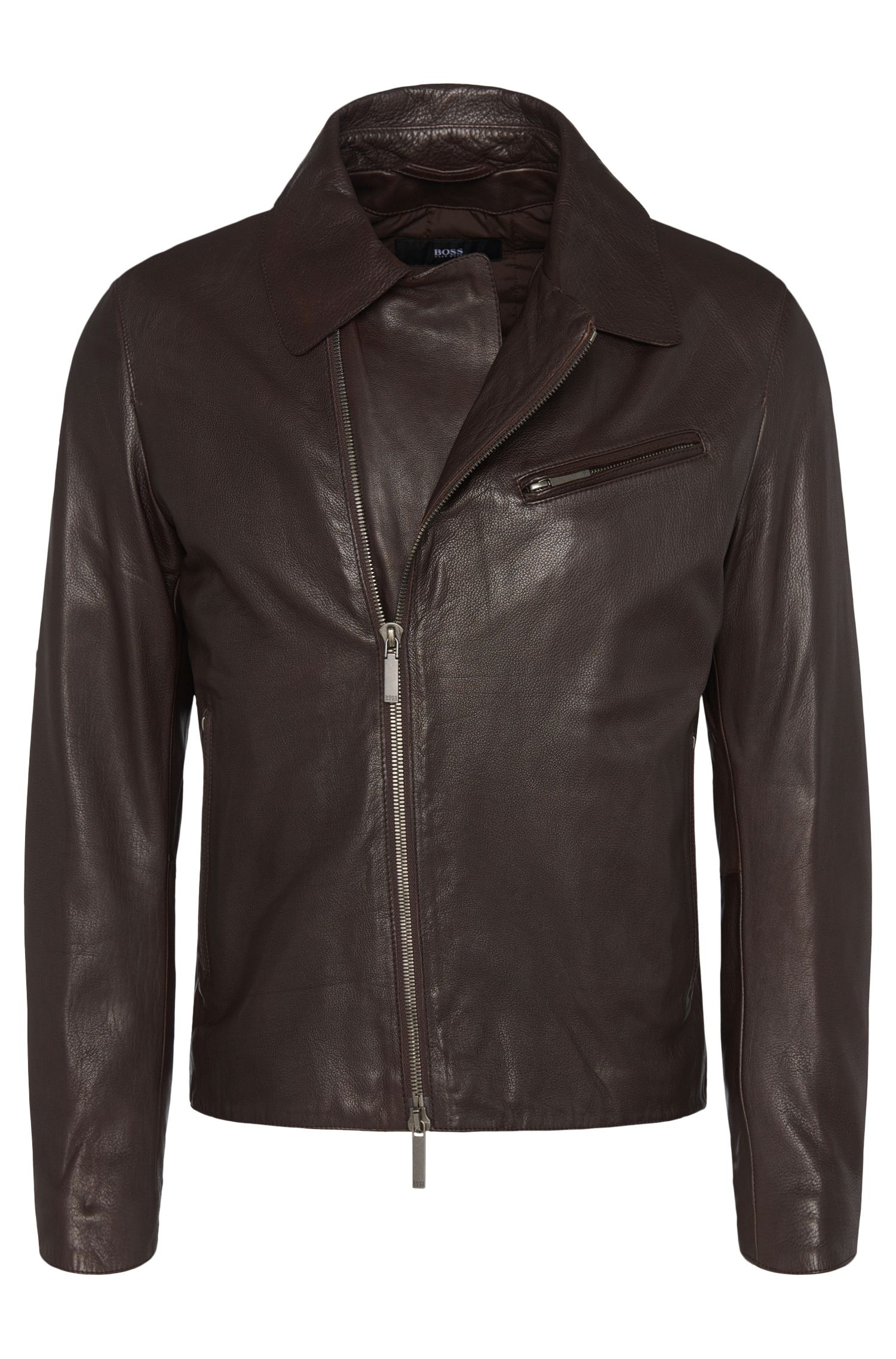 Regular-fit leather jacket with lapel collar: 'Geison'
