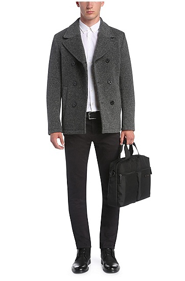 Slim-Fit Jacke aus einem gestrickten Schurwoll-Mix: ´Bennox`, Grau