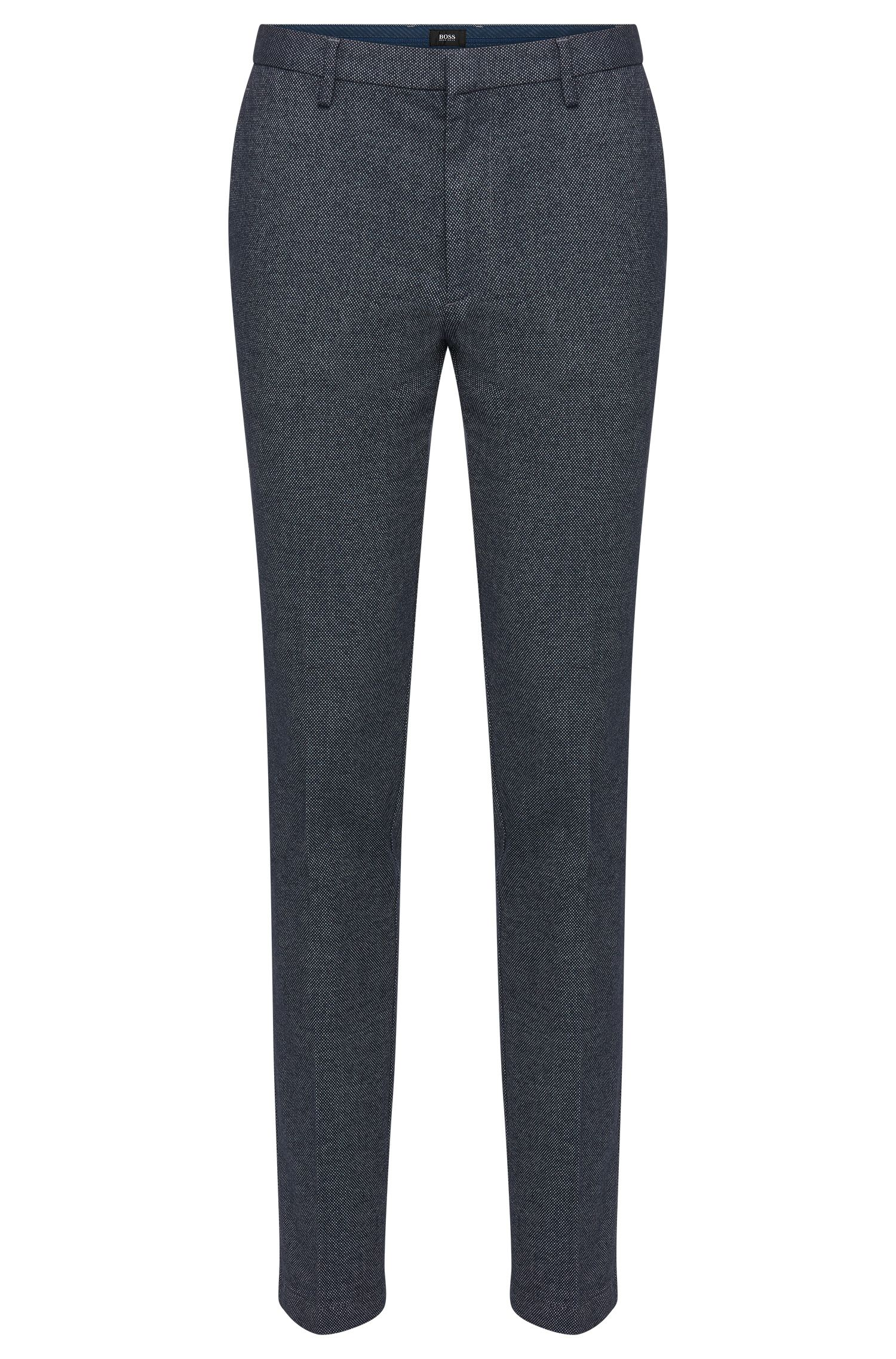 Finely patterned slim-fit trousers in stretch cotton blend: 'Kaito3-W'