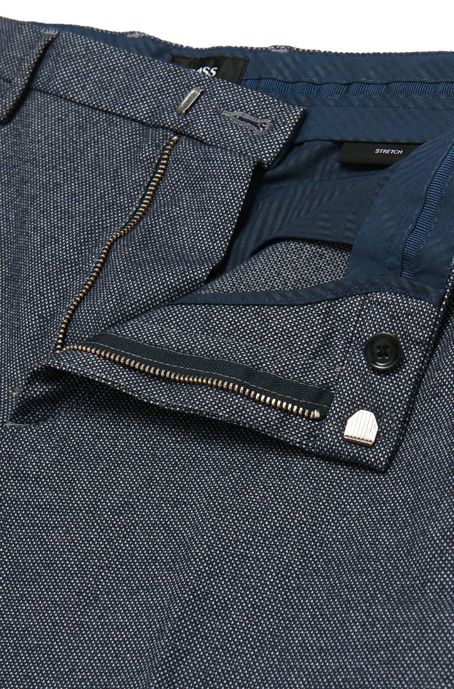 Pantalon Slim Fit à motif fin en coton mélangé extensible: «Kaito3-W»