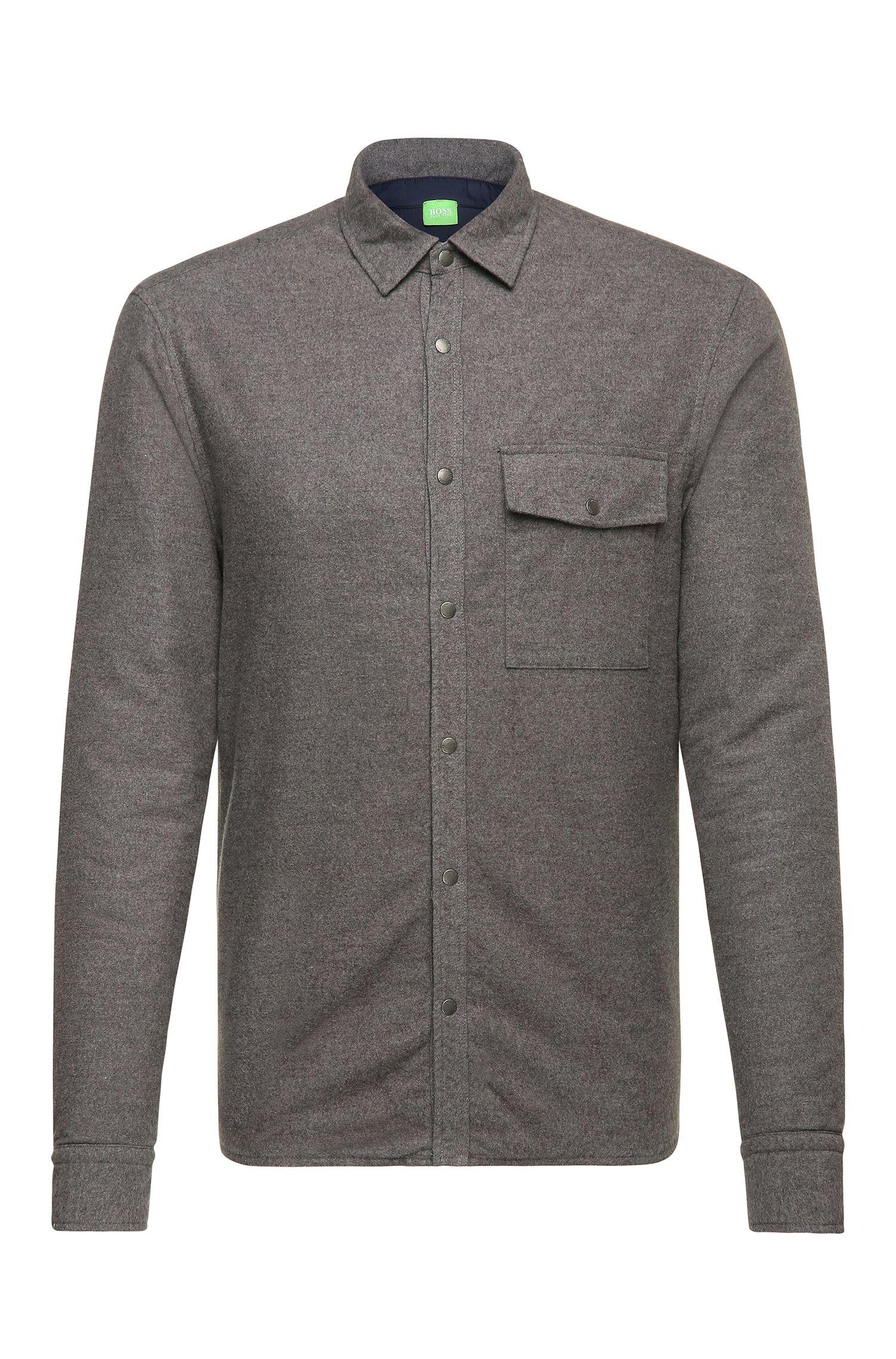 Camisa regular fit con forro en algodón jaspeado: 'Baffiro'
