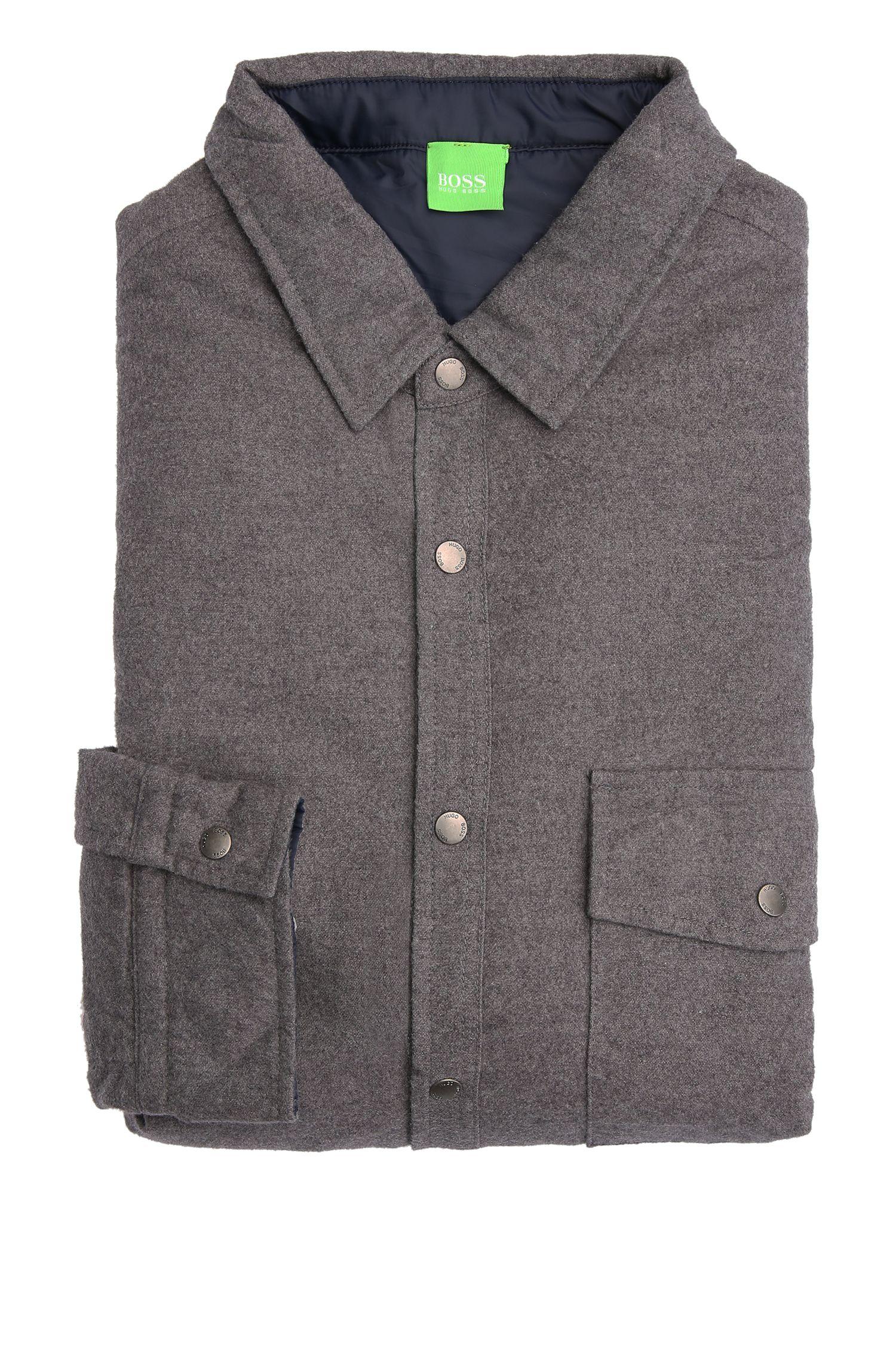 Gefüttertes Regular-Fit Hemd aus melierter Baumwolle: ´Baffiro`