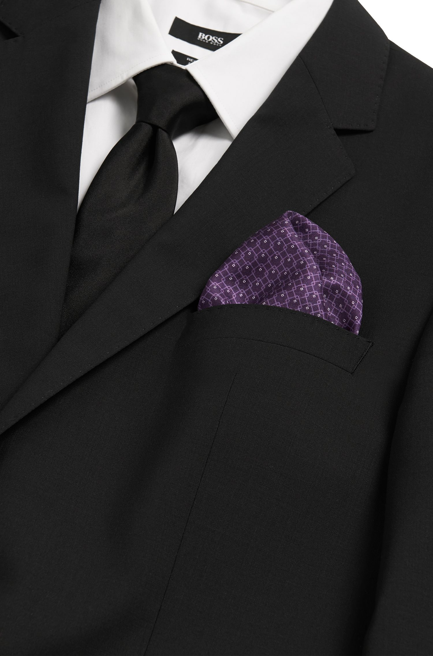 Pochette en pure soie à motif: «Pocket sq. cm33x33»