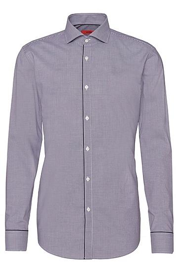 Kariertes Slim-Fit Hemd aus Baumwolle mit unifarbenen Paspeln: 'C-Jimmy', Dunkel Lila