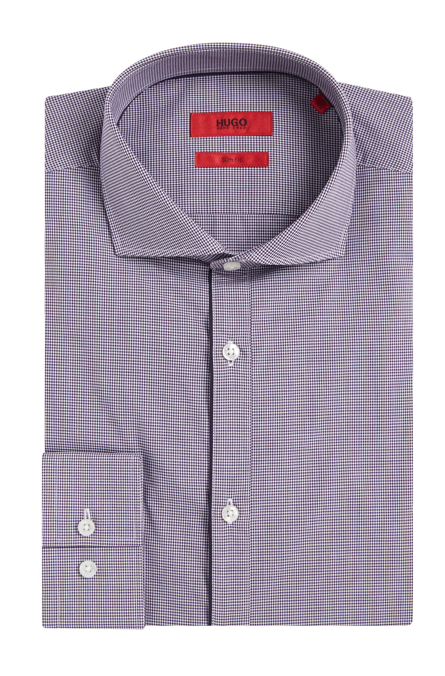 Kariertes Slim-Fit Hemd aus Baumwolle mit unifarbenen Paspeln: 'C-Jimmy'