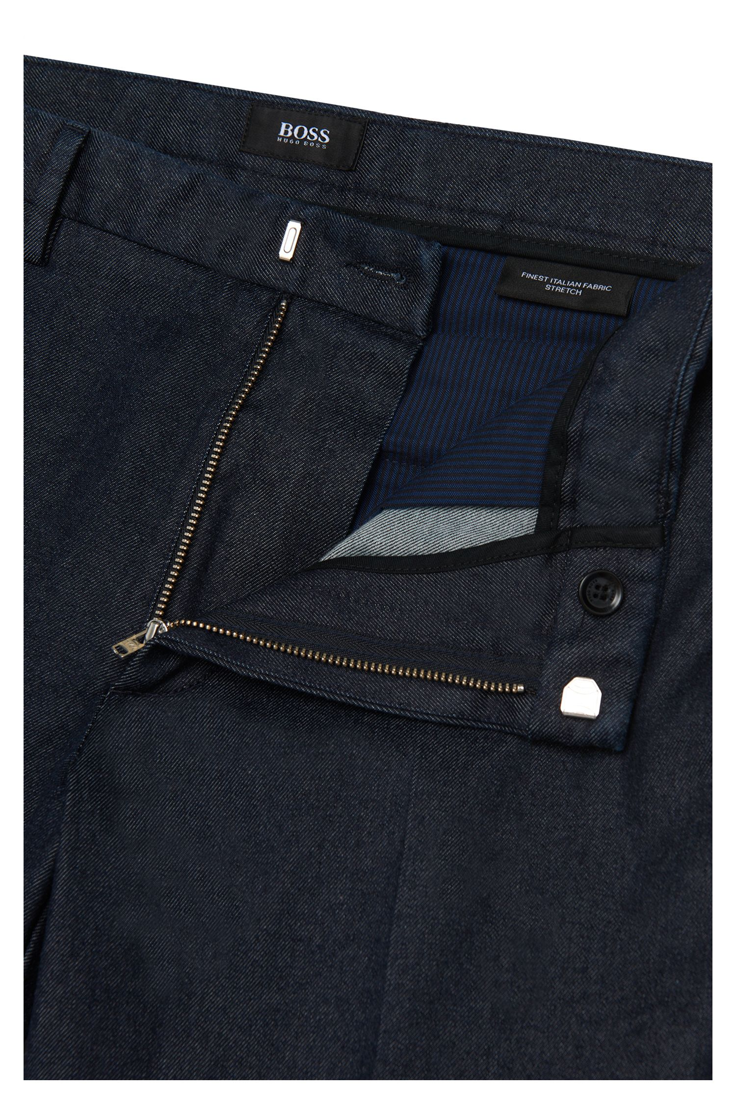 Slim-fit chino van stretchkatoen in denimstijl: 'Kaito3-W'