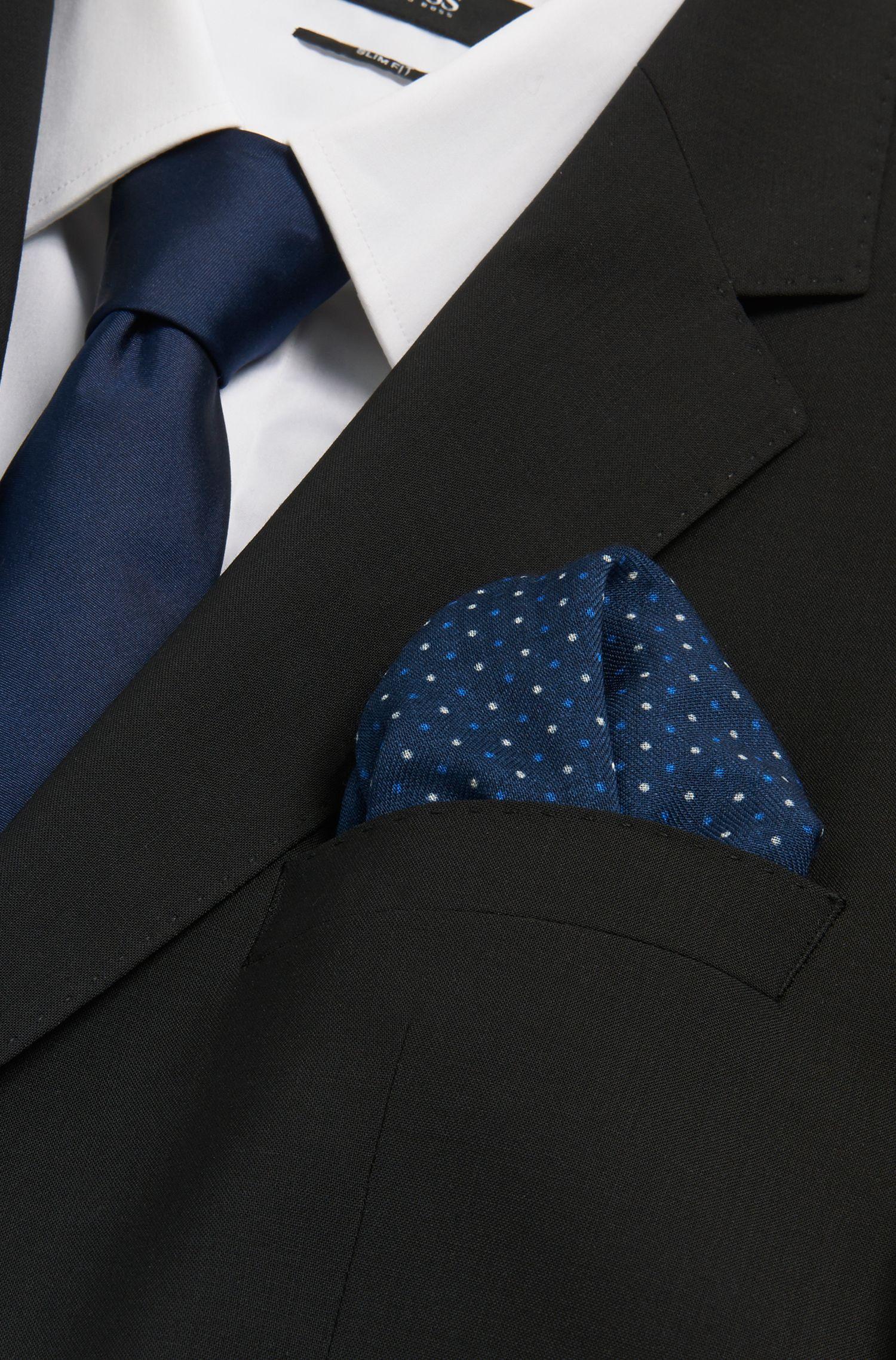 Pochette à pois en pure laine: «Pocket sq. cm 33x33»
