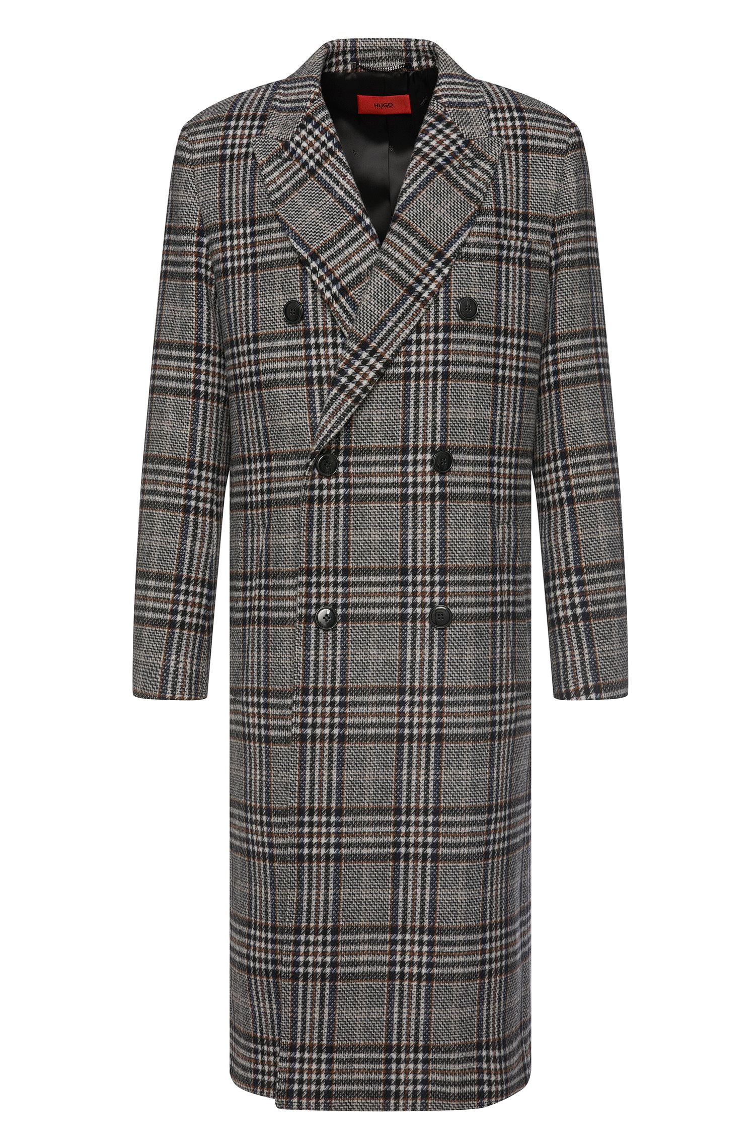 Checked coat in wool blend: 'Melox'