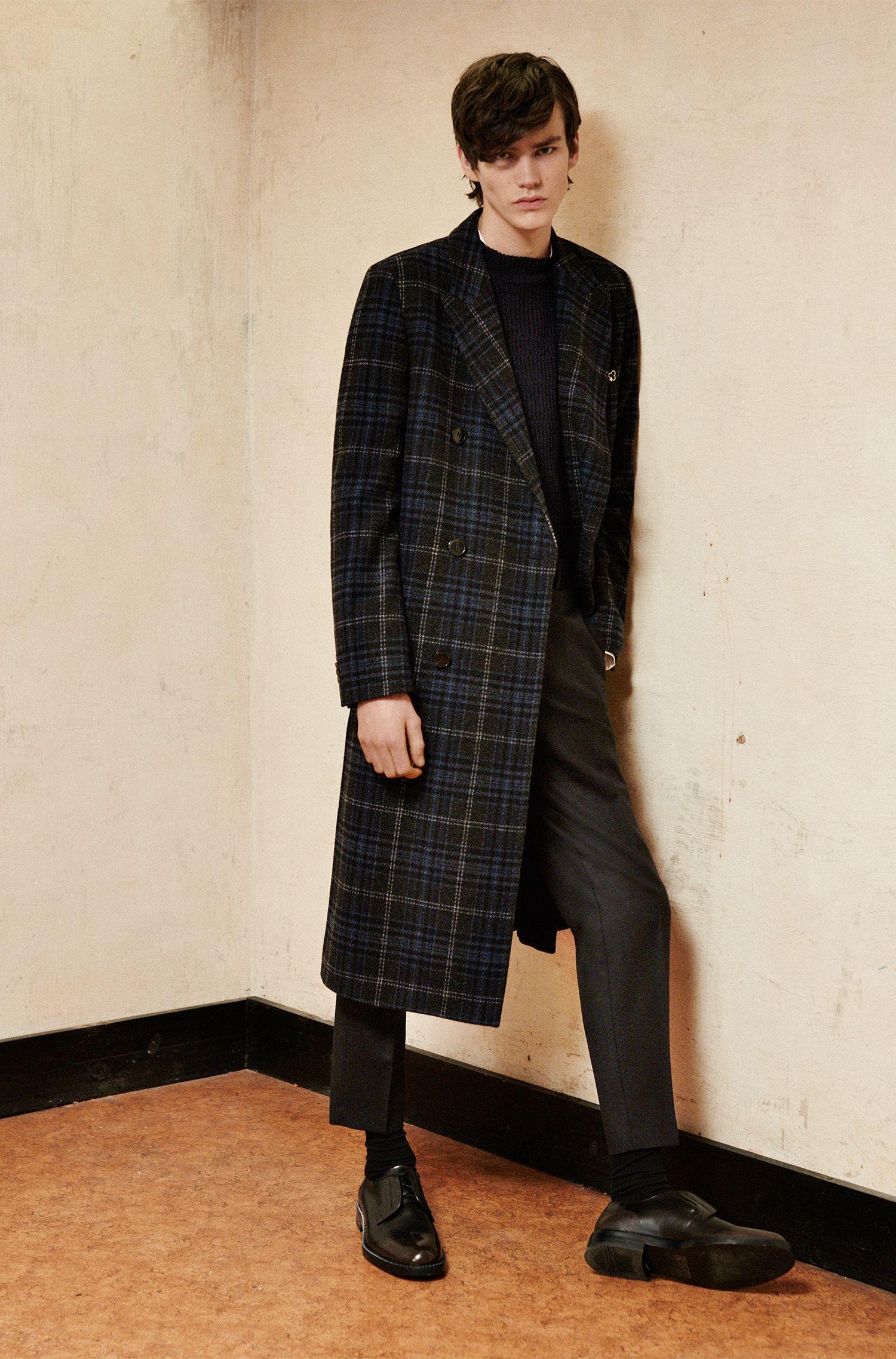 Manteau à carreaux en laine mélangée: «Melox»