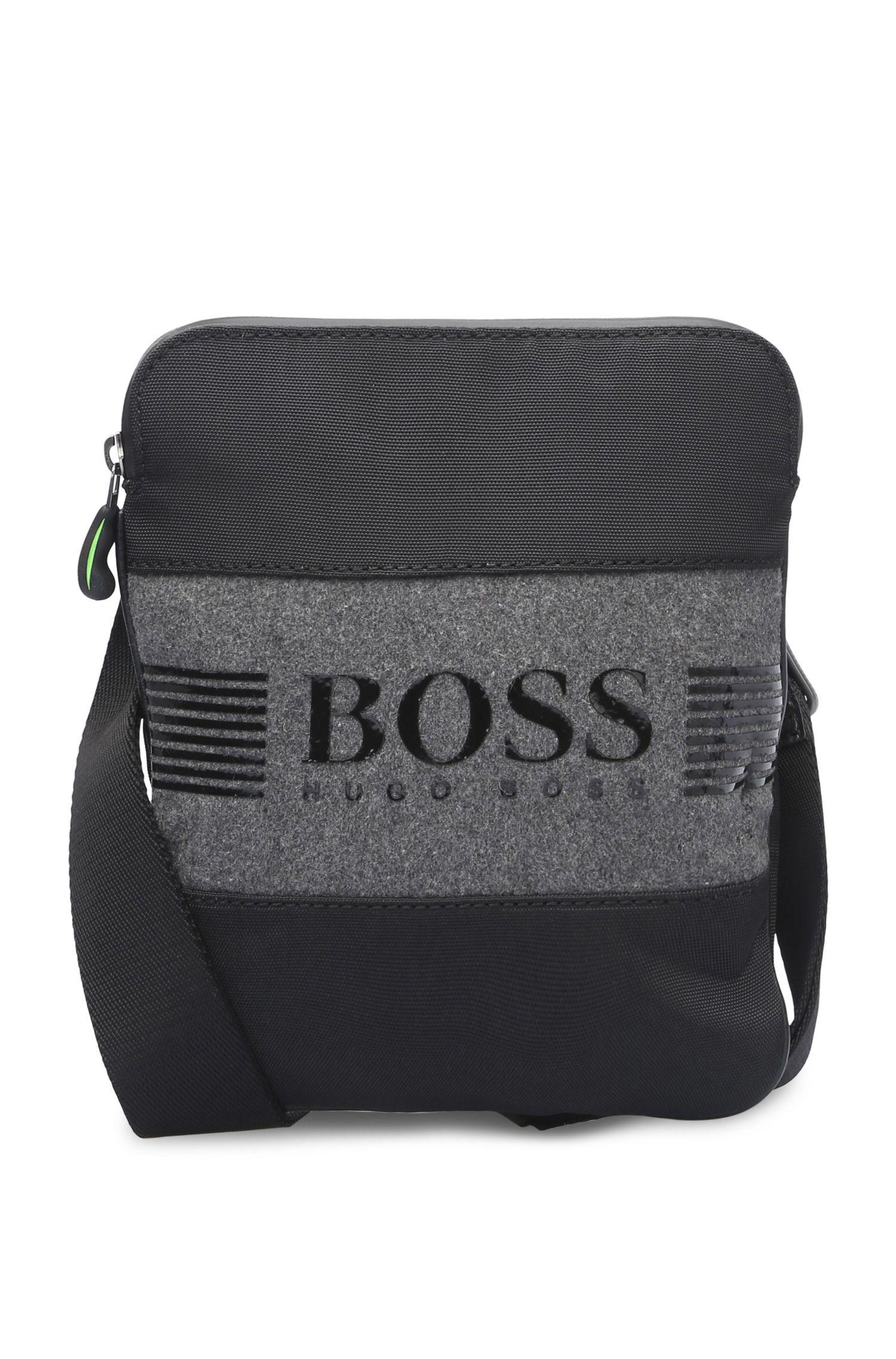 Shoulder bag in fabric blend with felt: 'Pixel F_NS zip'