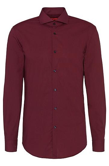 Kariertes Slim-Fit-Hemd aus bügelleicher Baumwolle: 'C-Jason', Dunkelrot