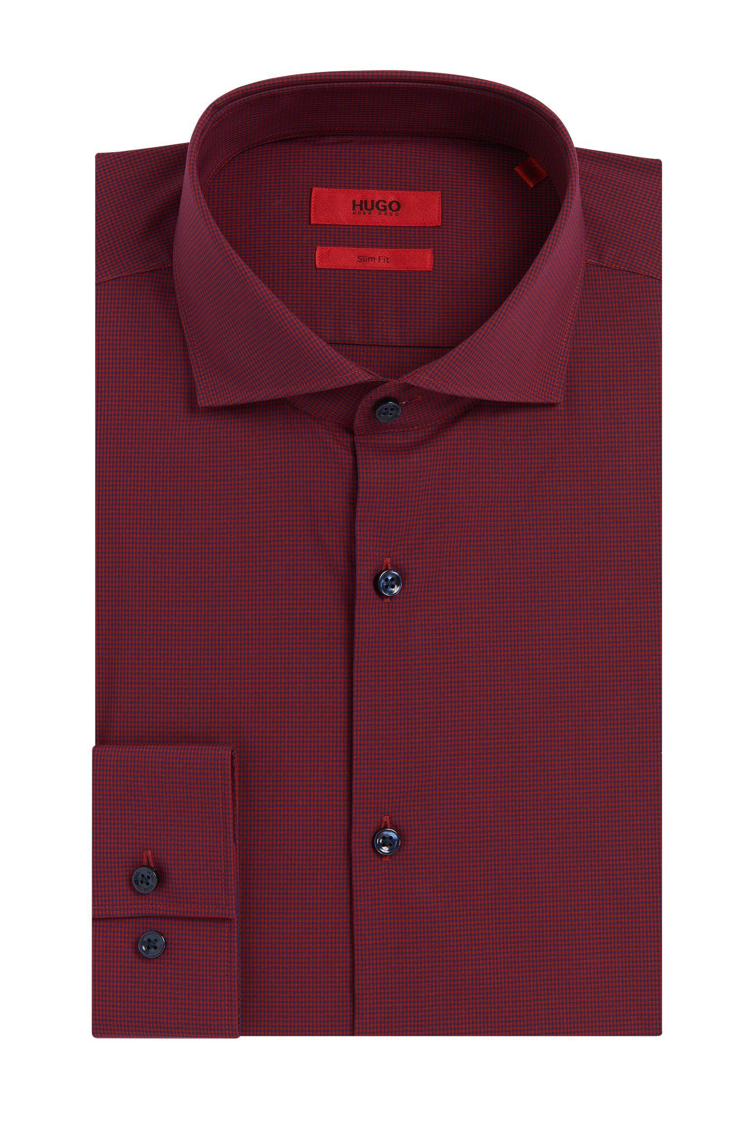 Chemise Slim Fit à carreaux en coton facile à repasser: «C-Jason»