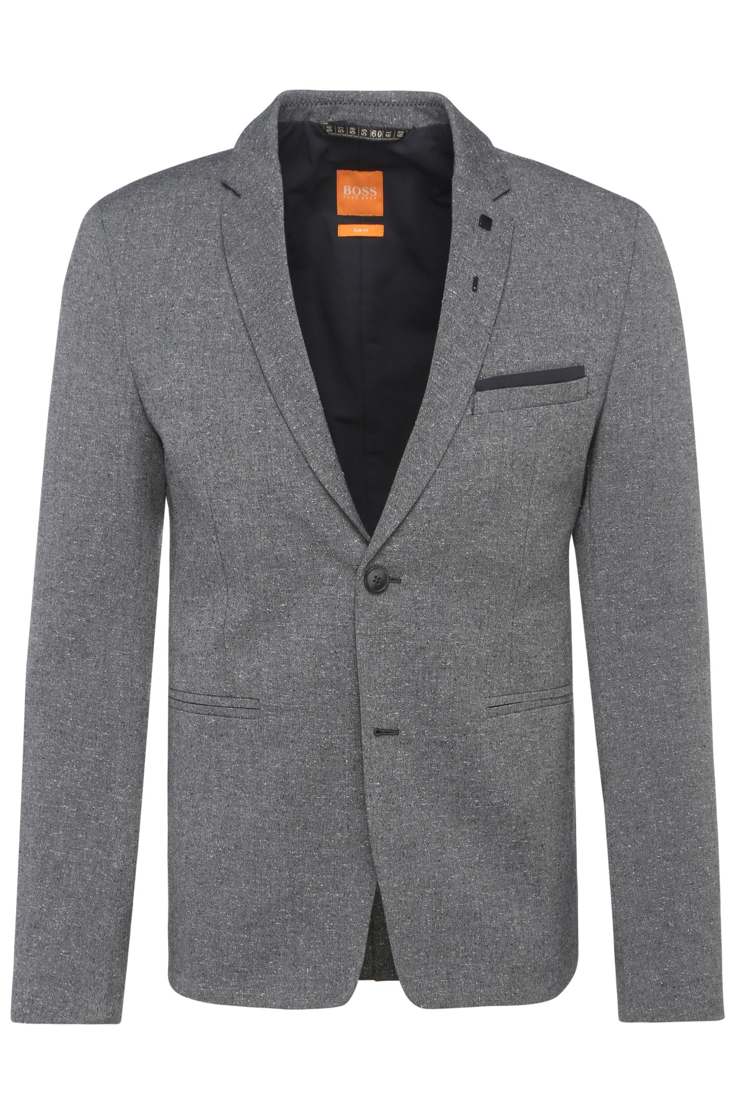 Slim-fit jacket in tweed-effect fabric blend: 'Bistick_BS'