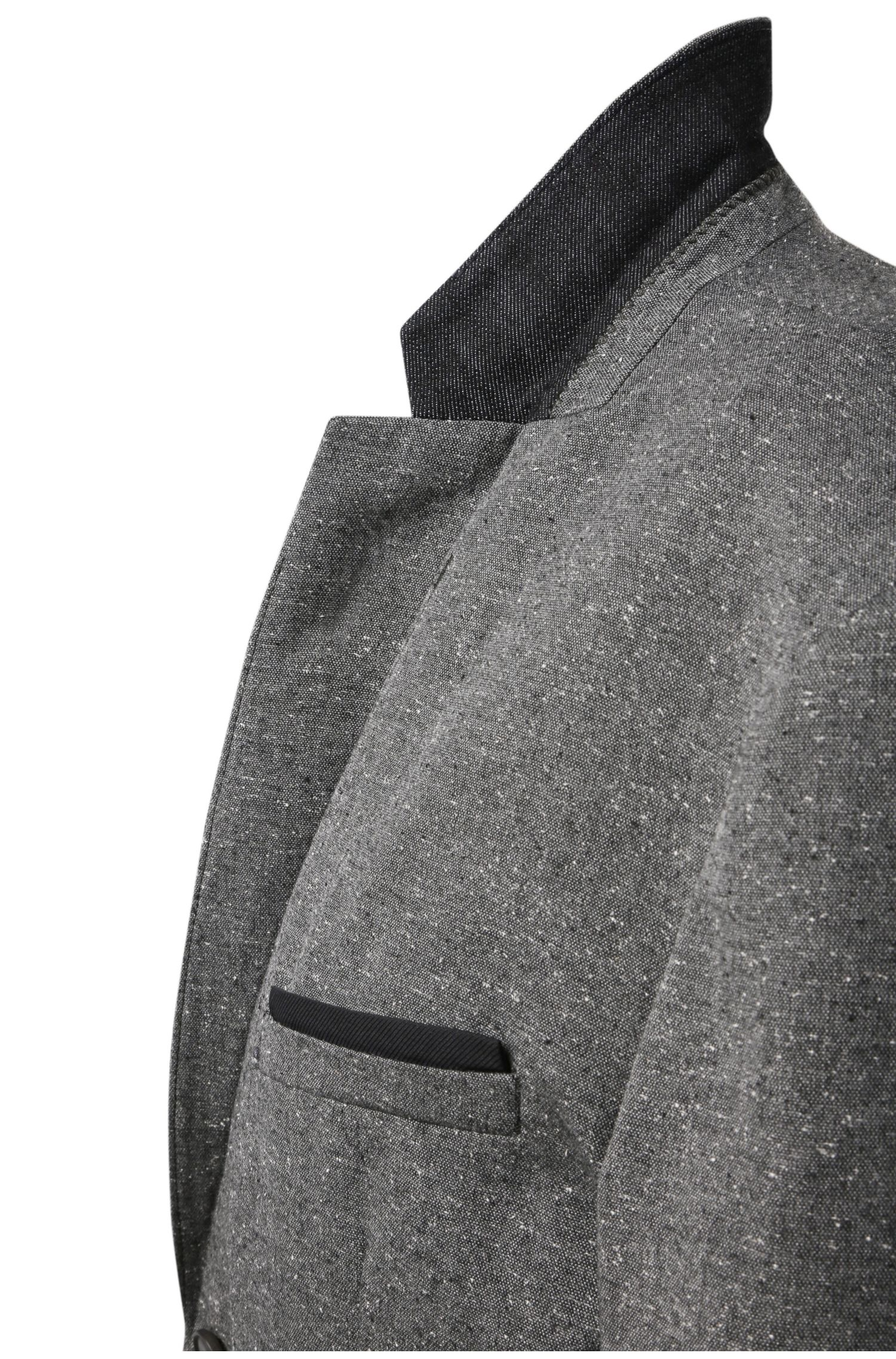 Slim-fit colbert van een materiaalmix in tweedlook: 'Bistick_BS'