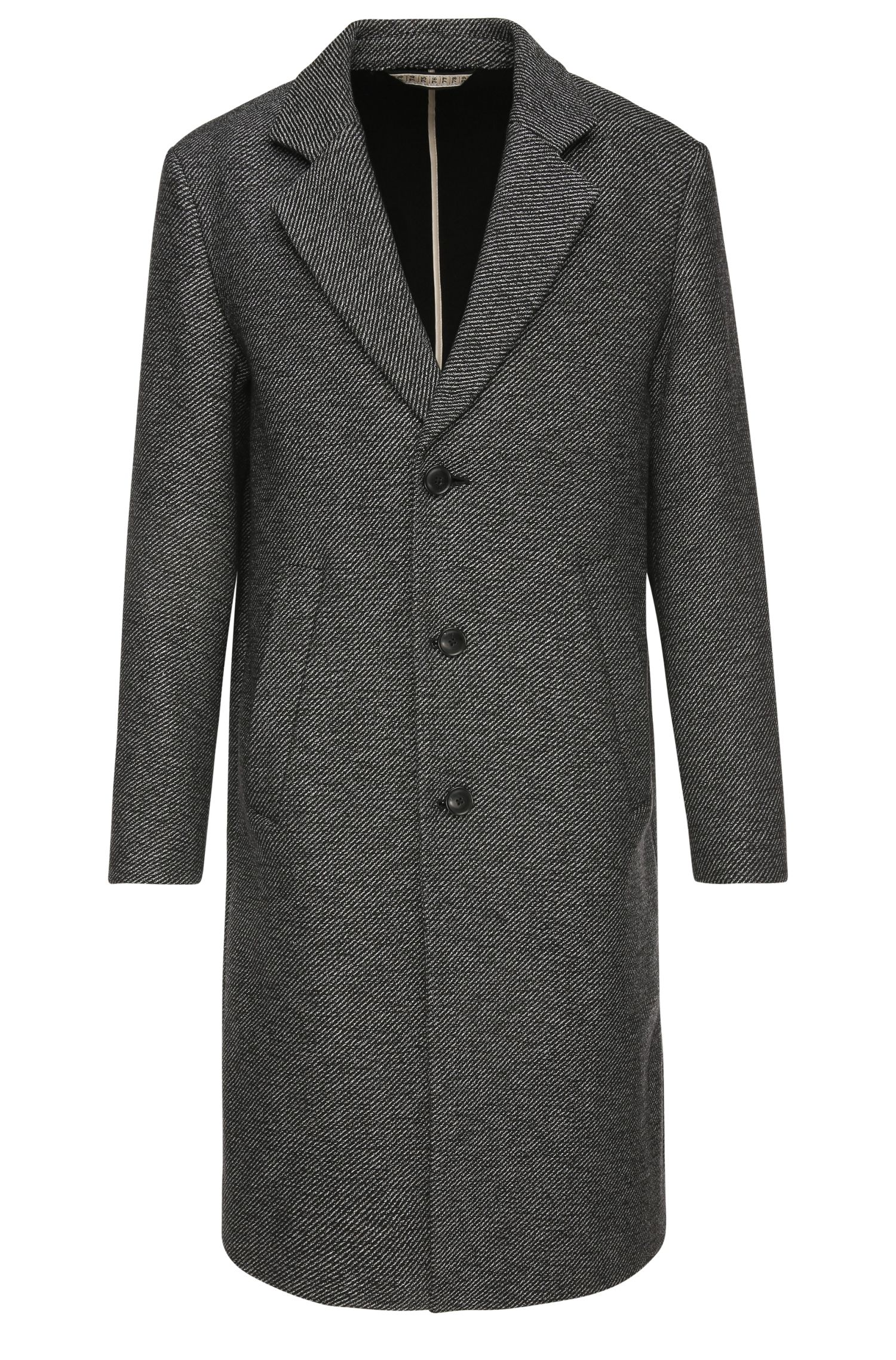 Coat in textured fabric blend with cotton: 'Bear'