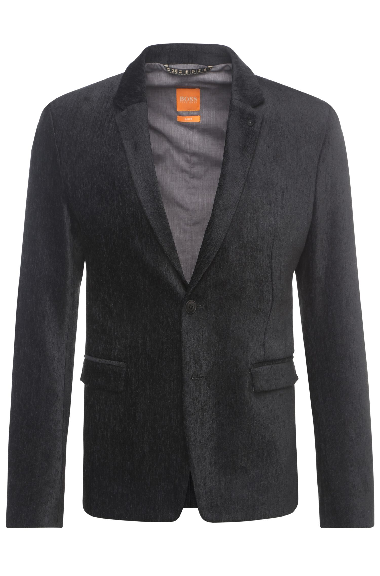 Slim-fit jacket in a textured fabric blend: 'Bistock'