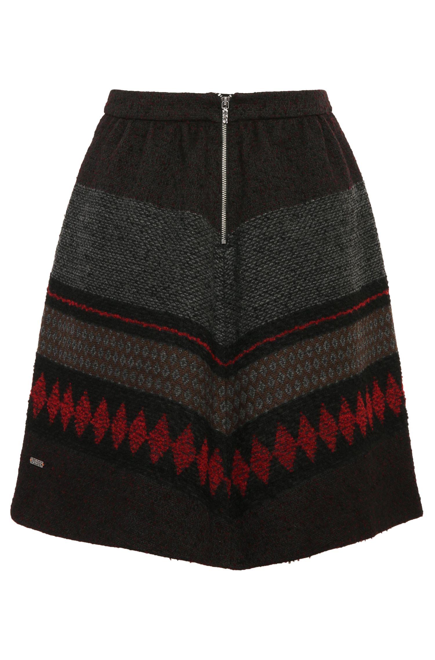 Jupe évasée en mélange de matières à motif, avec de la laine et de l'alpaga: «Bakarli»