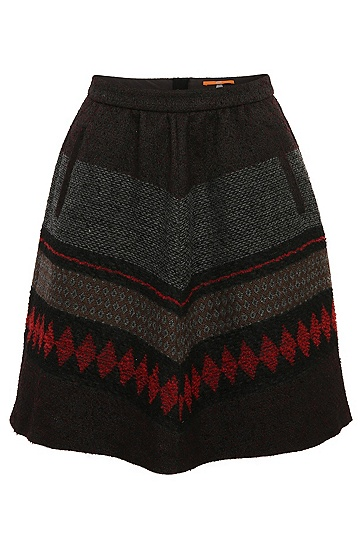 A-line skirt in a patterned fabric blend with wool and alpaca: 'Bakarli', Patterned