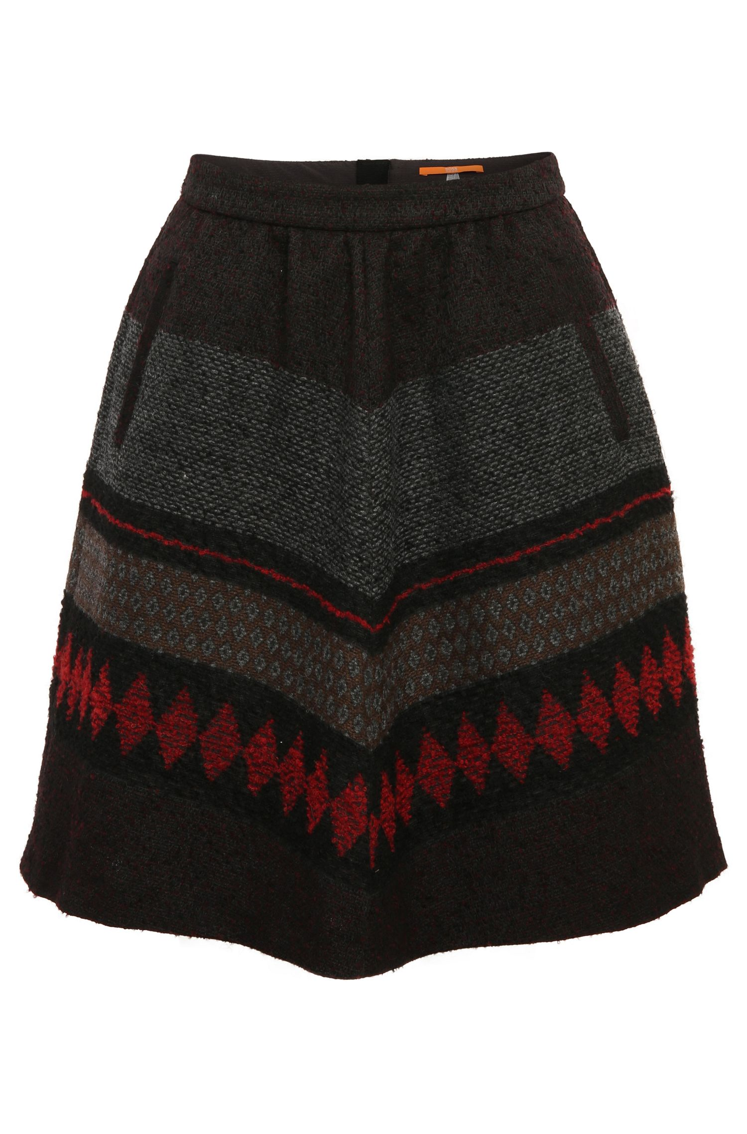 A-line skirt in a patterned fabric blend with wool and alpaca: 'Bakarli'