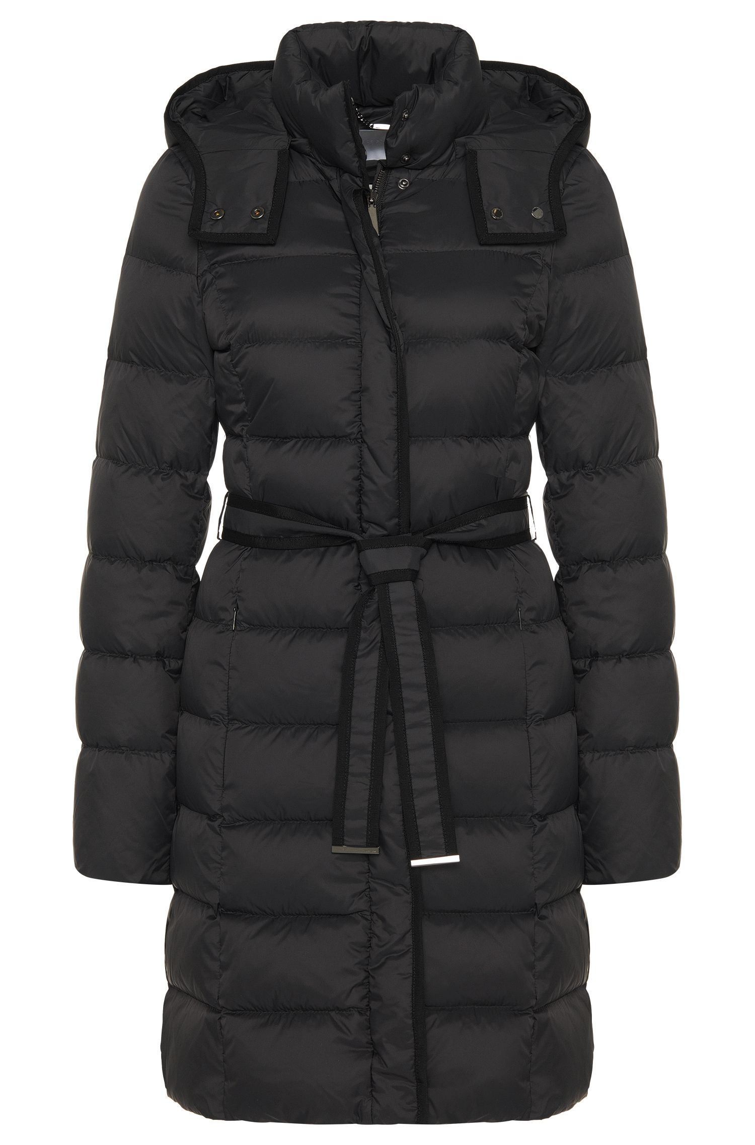 Quilted coat with down padding and wrap belt: 'Pavina'