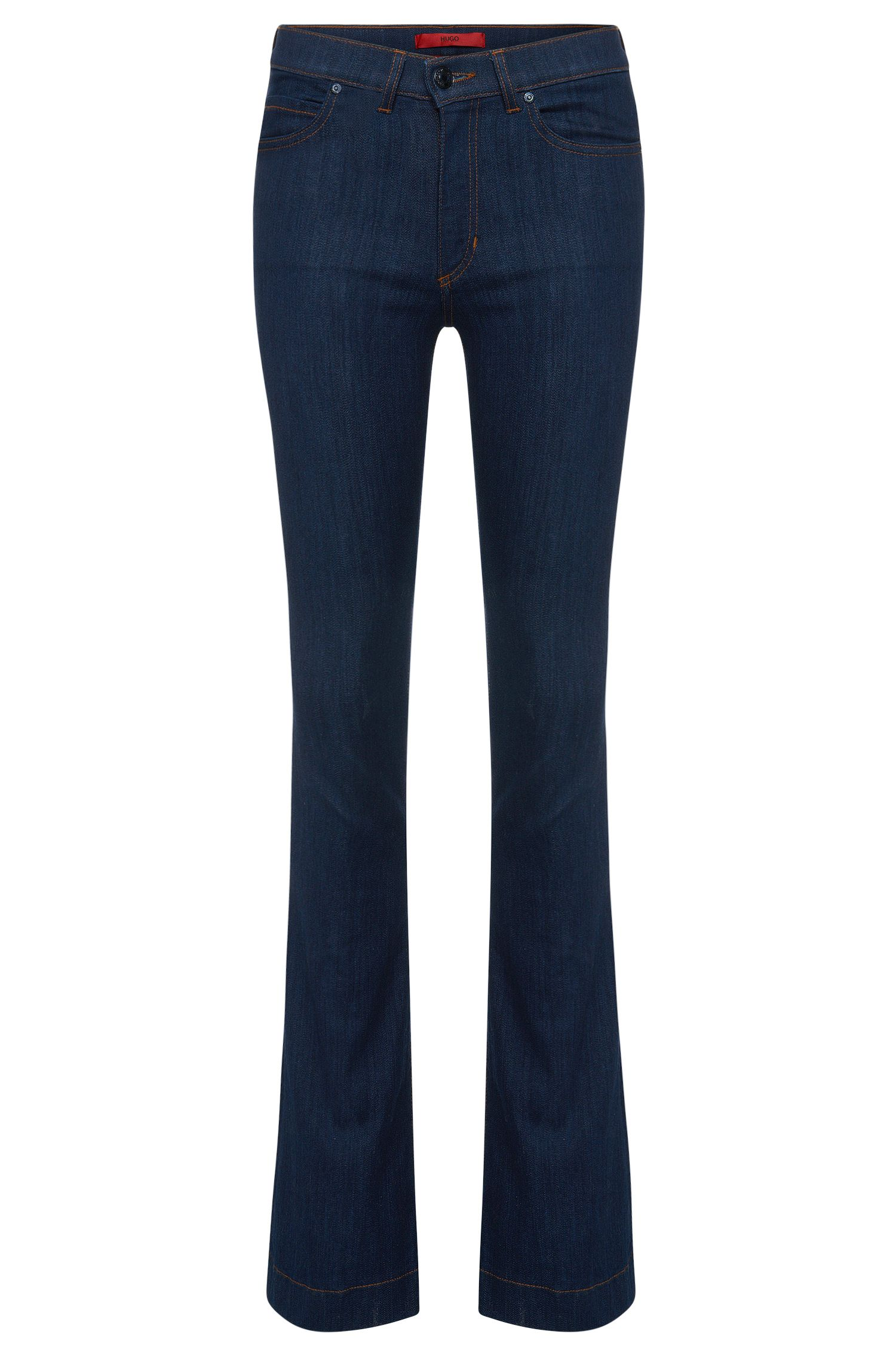 Slim fit boot cut jeans in stretch cotton: 'Ginas'