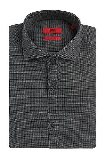 Fein gemustertes Slim-Fit Hemd aus Baumwolle: 'C-Jason', Schwarz