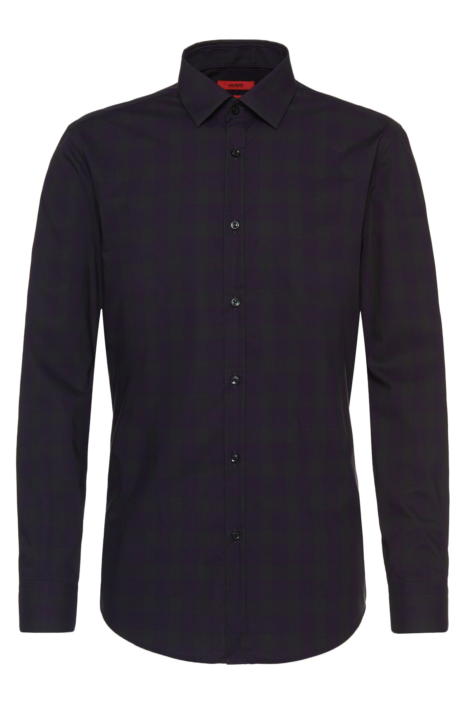 Checked slim-fit shirt in easy-iron cotton: 'C-Jero'