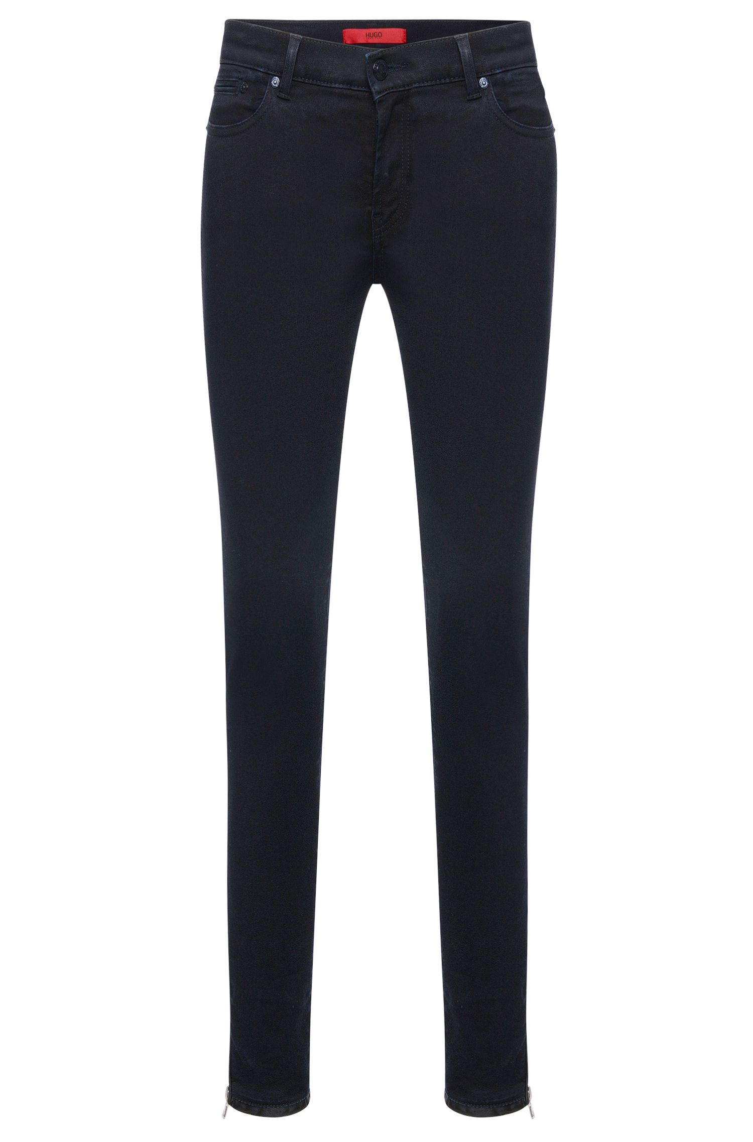 Skinny-fit jeans van een elastische katoenmix in een cropped lengte: 'Gilljana/9'