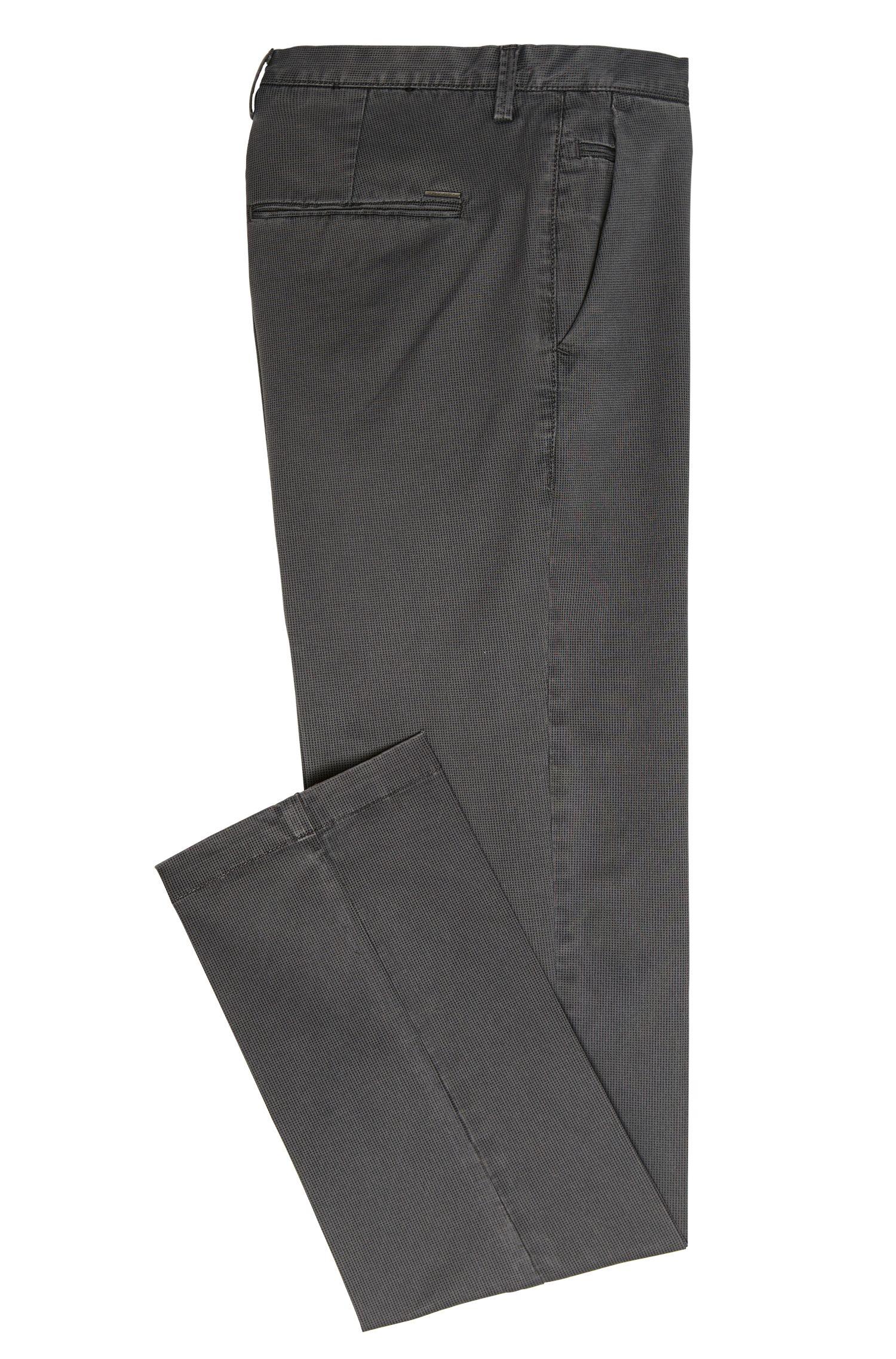 Chino Slim en coton extensible à motif à fins carreaux: «Rice3-1-D»